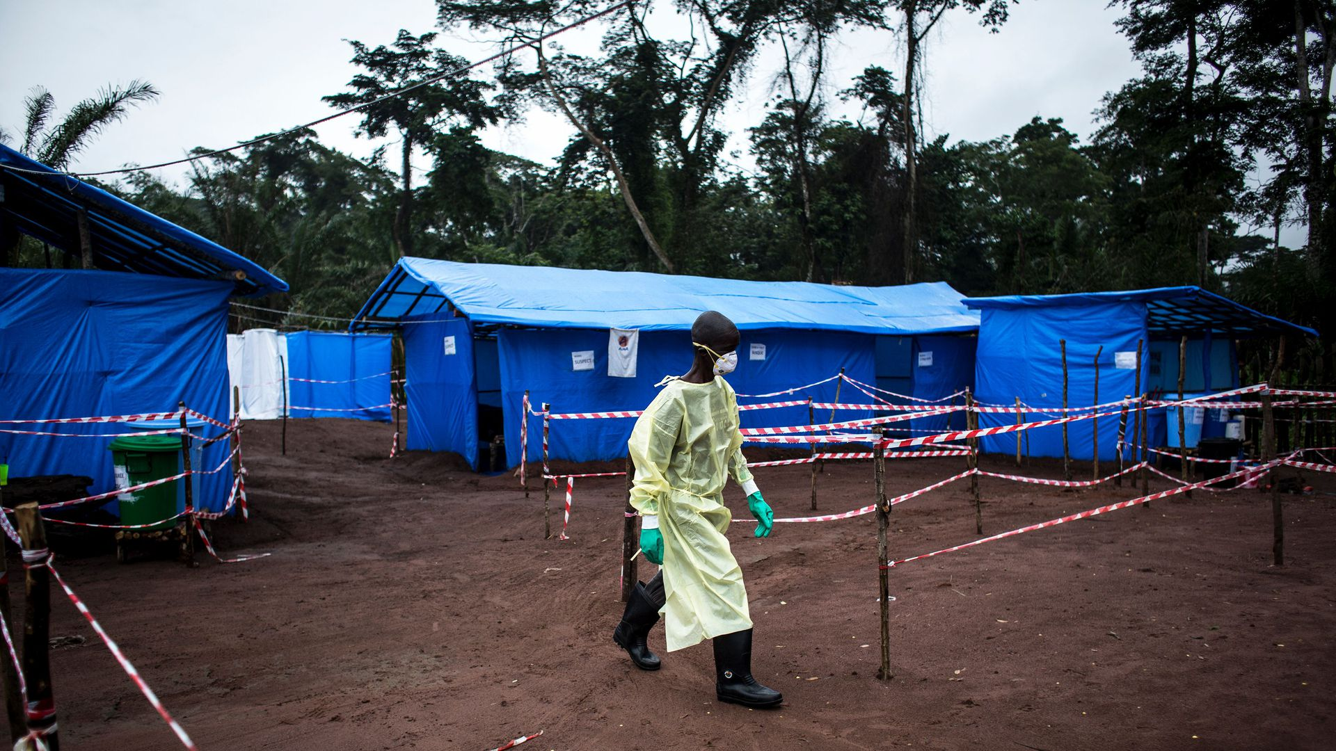 A health worker at Ebola quarantine in 2017. Photo: John Wessels/AFP/Getty Images