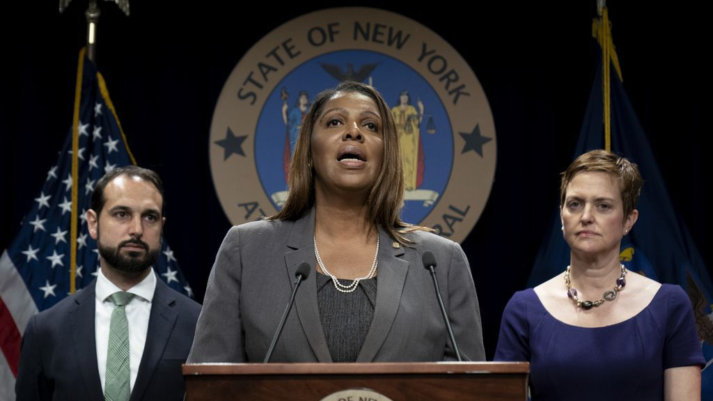 Photo of NY AG Letitia James speaking about the case