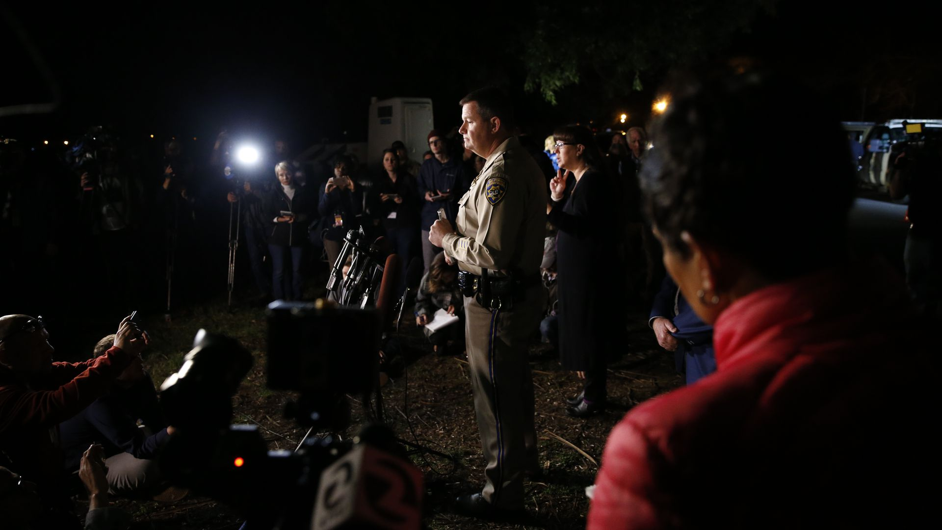 Chris Childs, assistant chief of the California Highway Patrol, speaks at a press conference after an active shooter turned hostage situation at the Veterans Home of California.