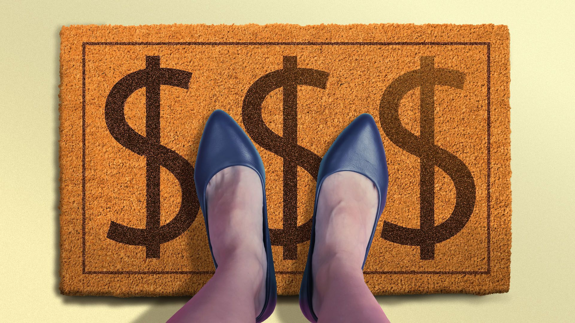 Illustration of a real estate agent standing on a welcome mat with dollar signs on it