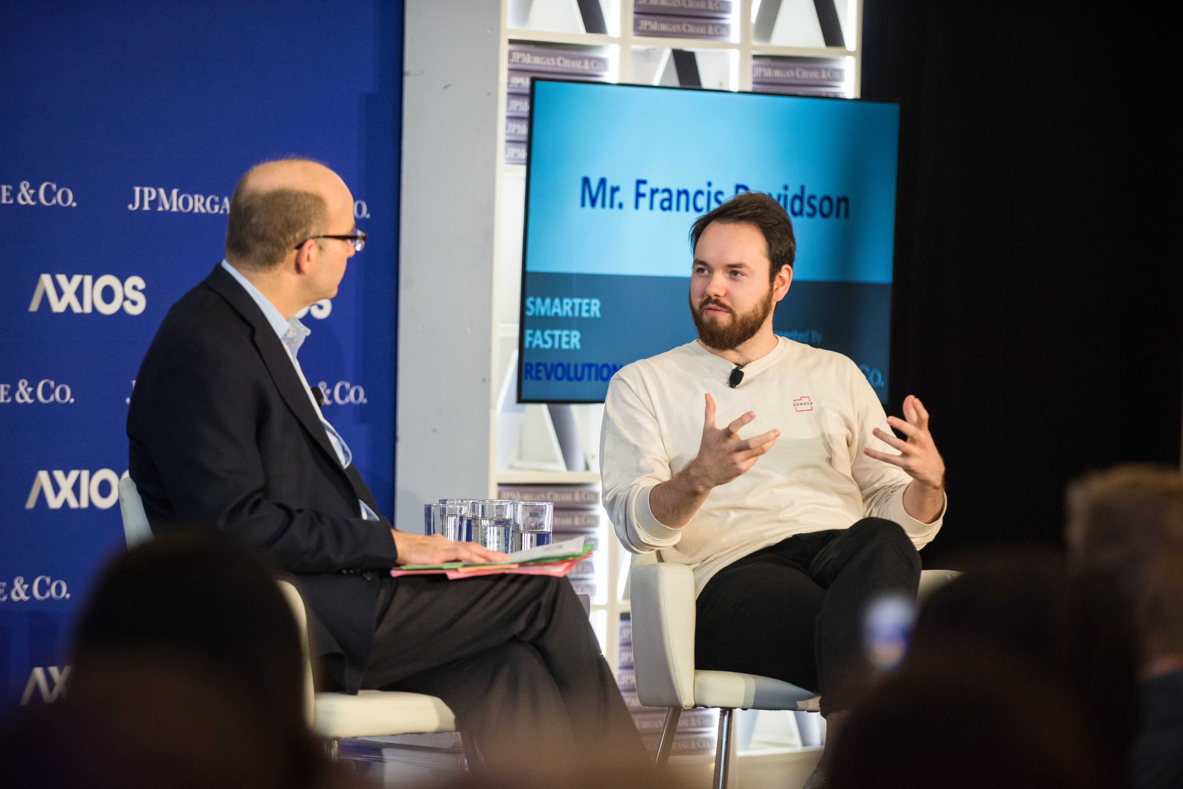 Mike Allen and Founder of Sonder Francis Davidson in conversation on the Axios stage.