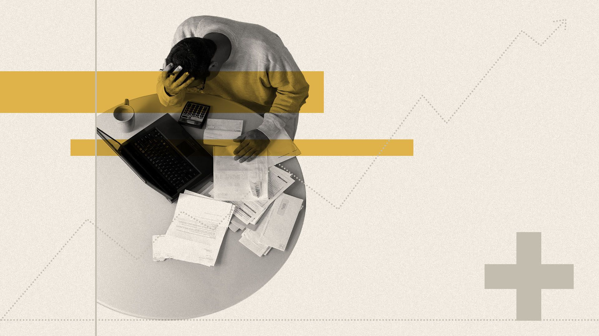 Illustration of a man hunched over a desk covered in papers