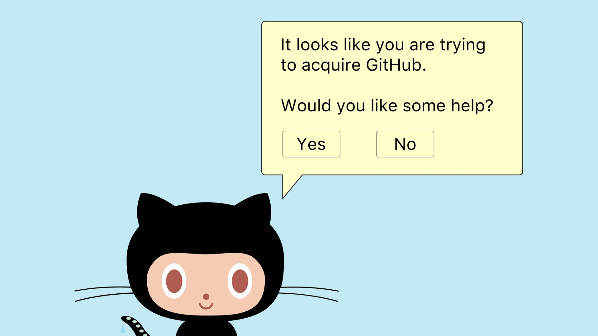Cartoon of Github helper cat offering assistance dialogue box for corporate acquisition