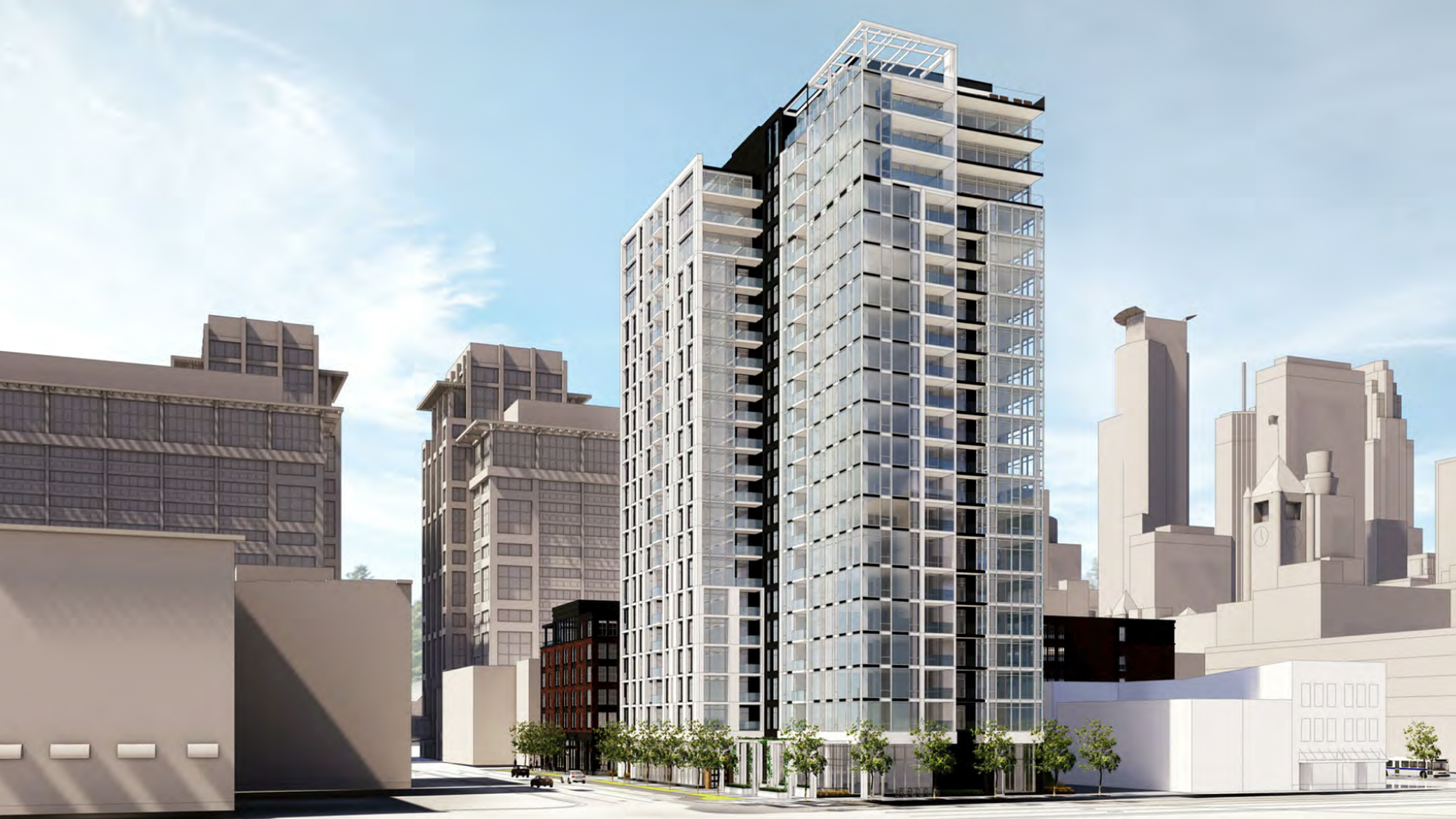 Rendering of a mixed-use complex in downtown Minneapolis.
