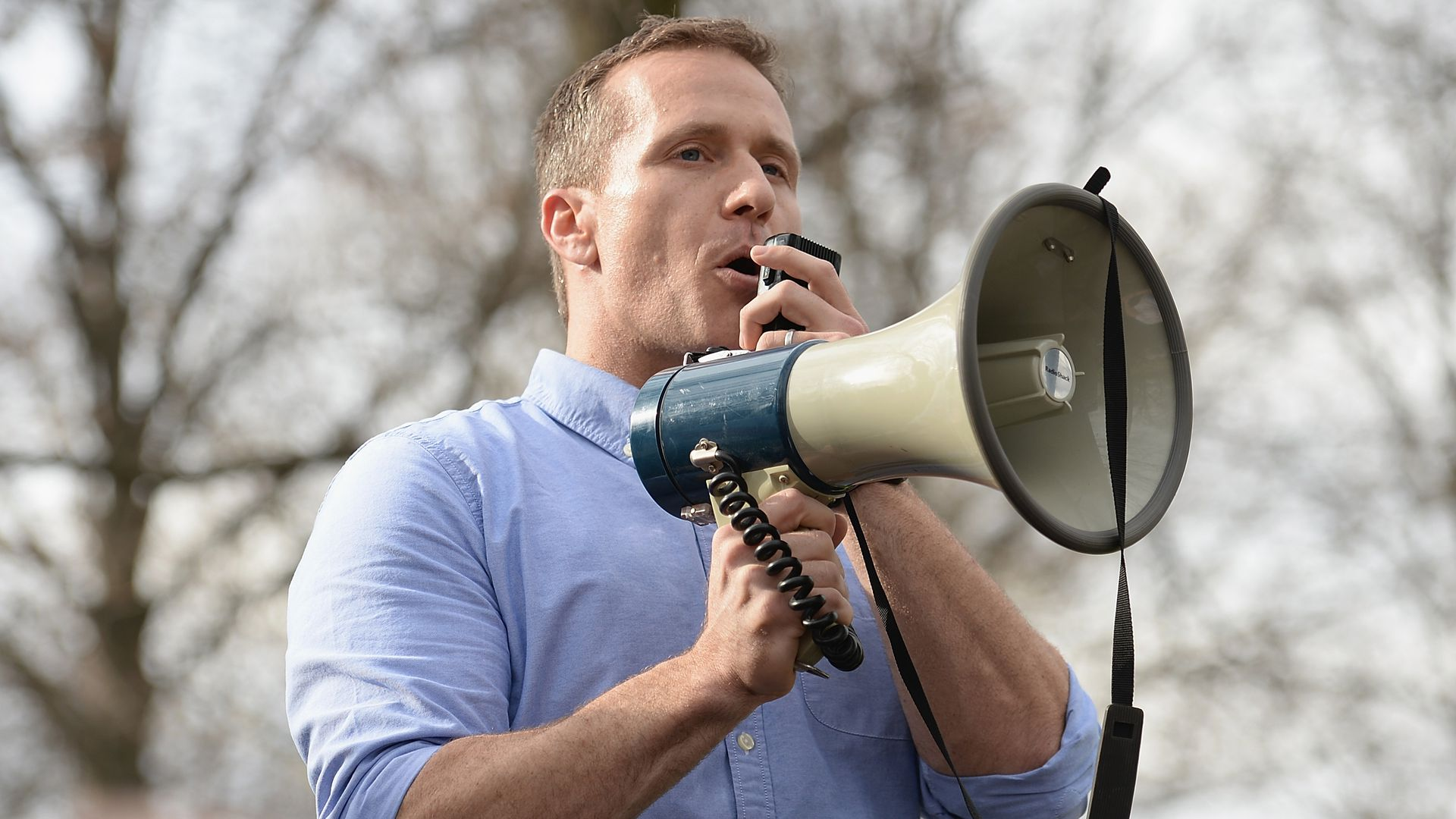 Eric Greitens uses a megaphone