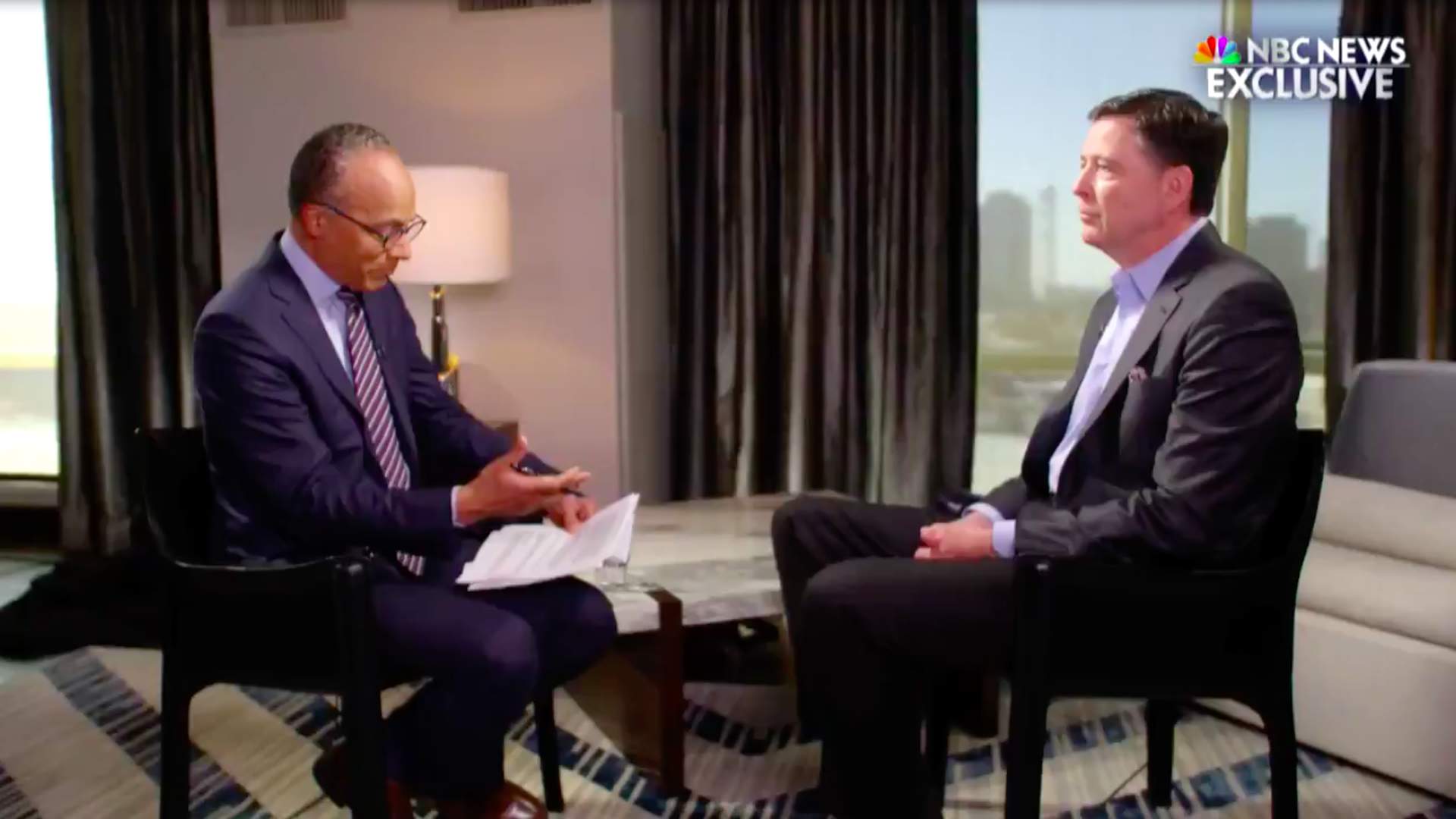 Former FBI Director James Comey and NBC Nightly News anchor Lester Holt