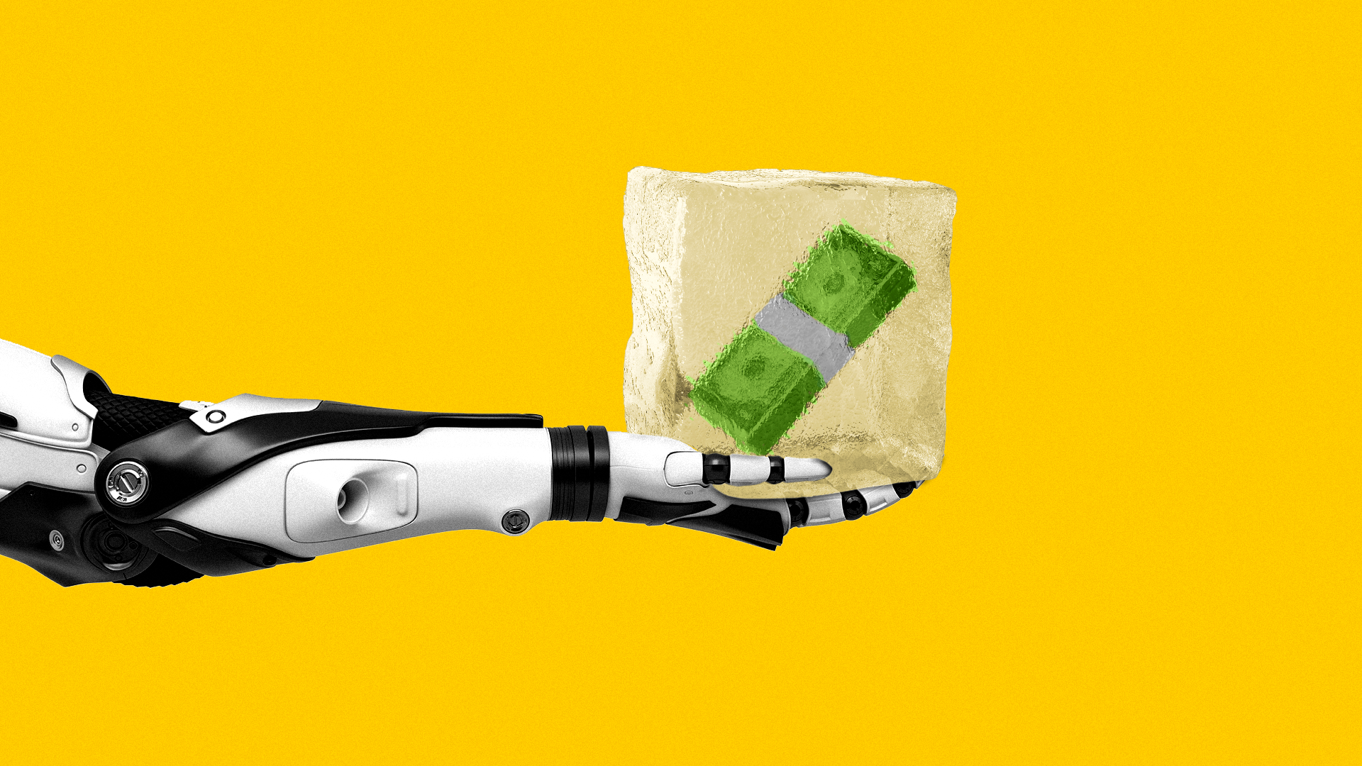 Illustration of a robot arm holding an ice cube with a stack of money frozen in the center.