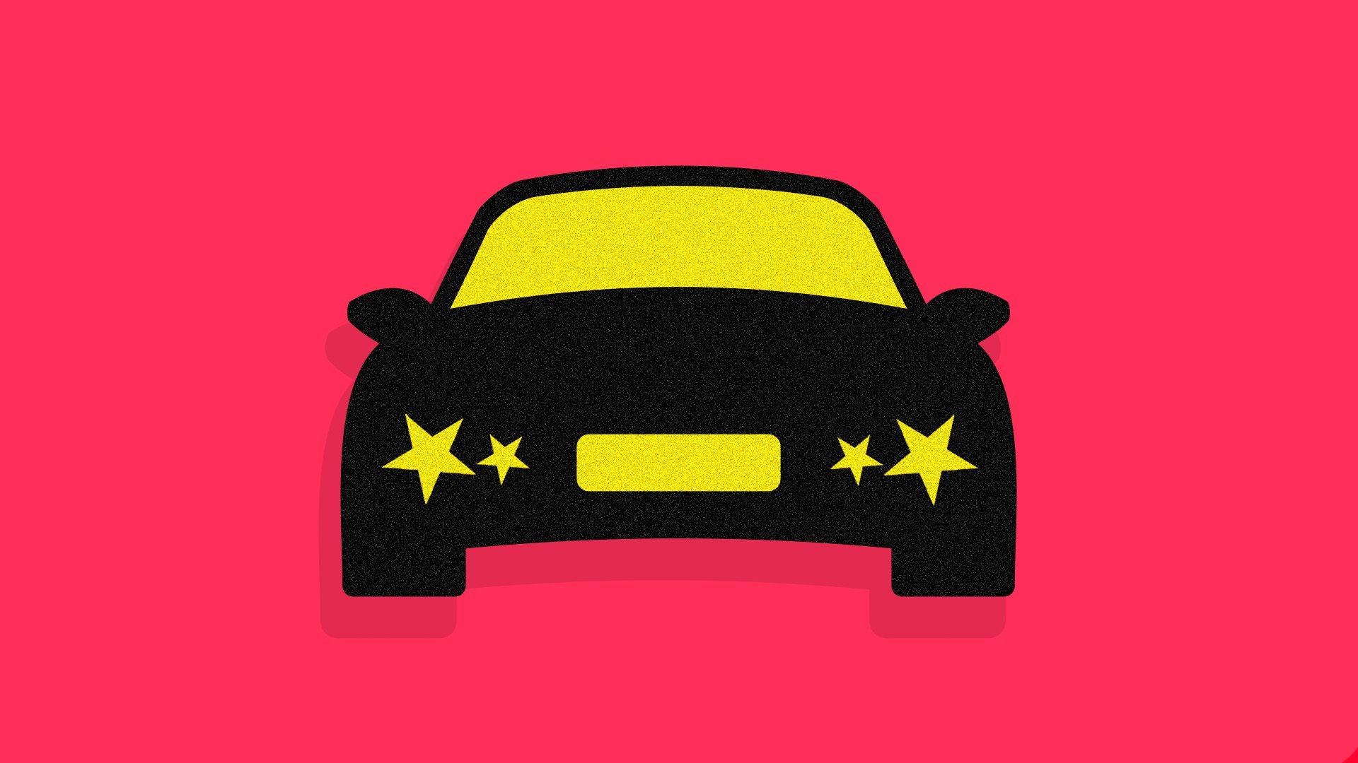 A black illustrated car with yellow stars for headlights against red backdrop (like Chinese flag)