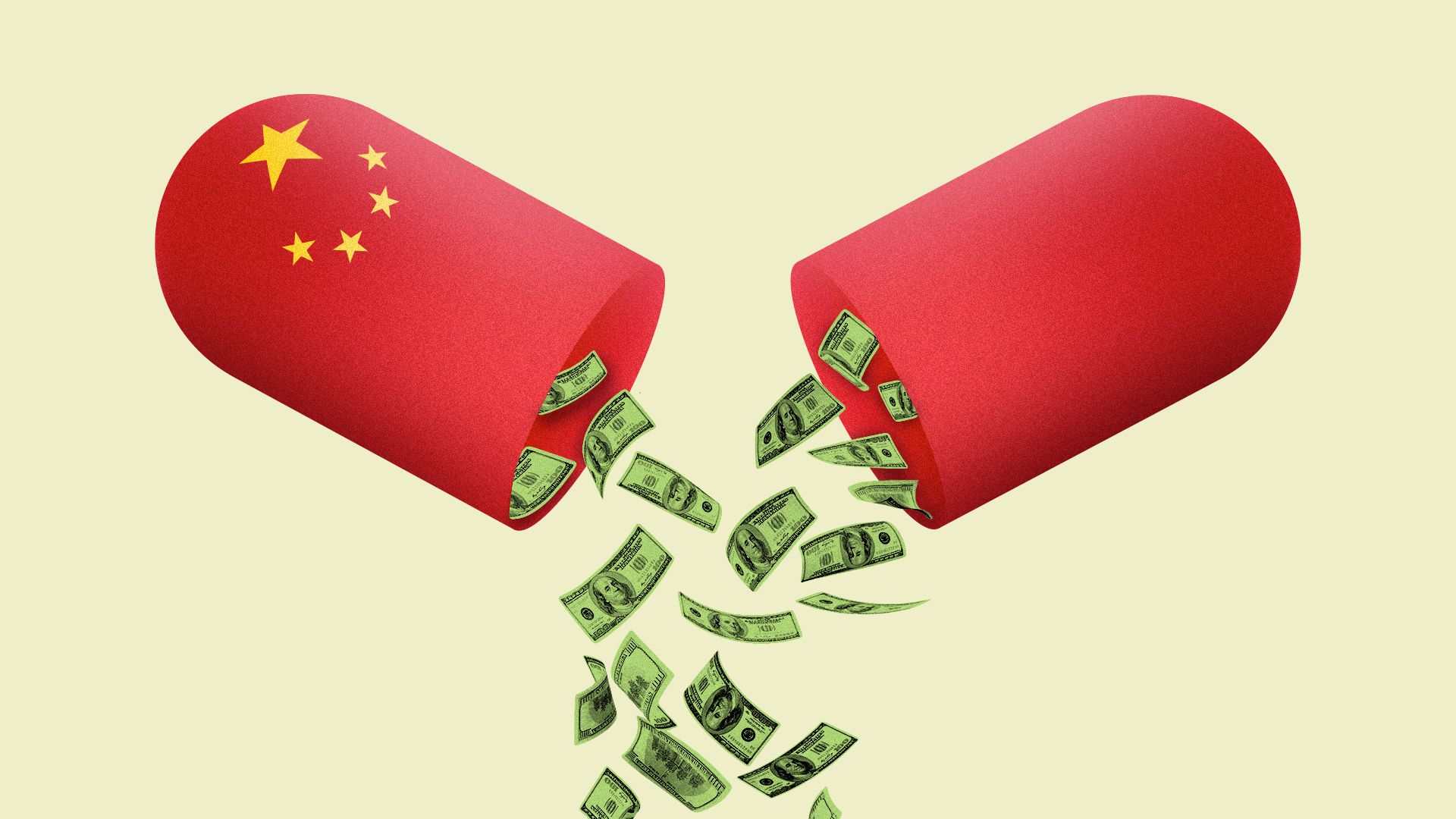 Illustration of an opened pill capsule with Chinese stars. Money is falling from the inside of the pill.