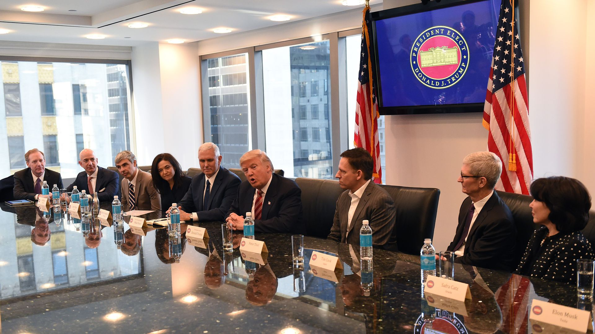 Tech leaders meet with President-elect Donald Trump in 2016