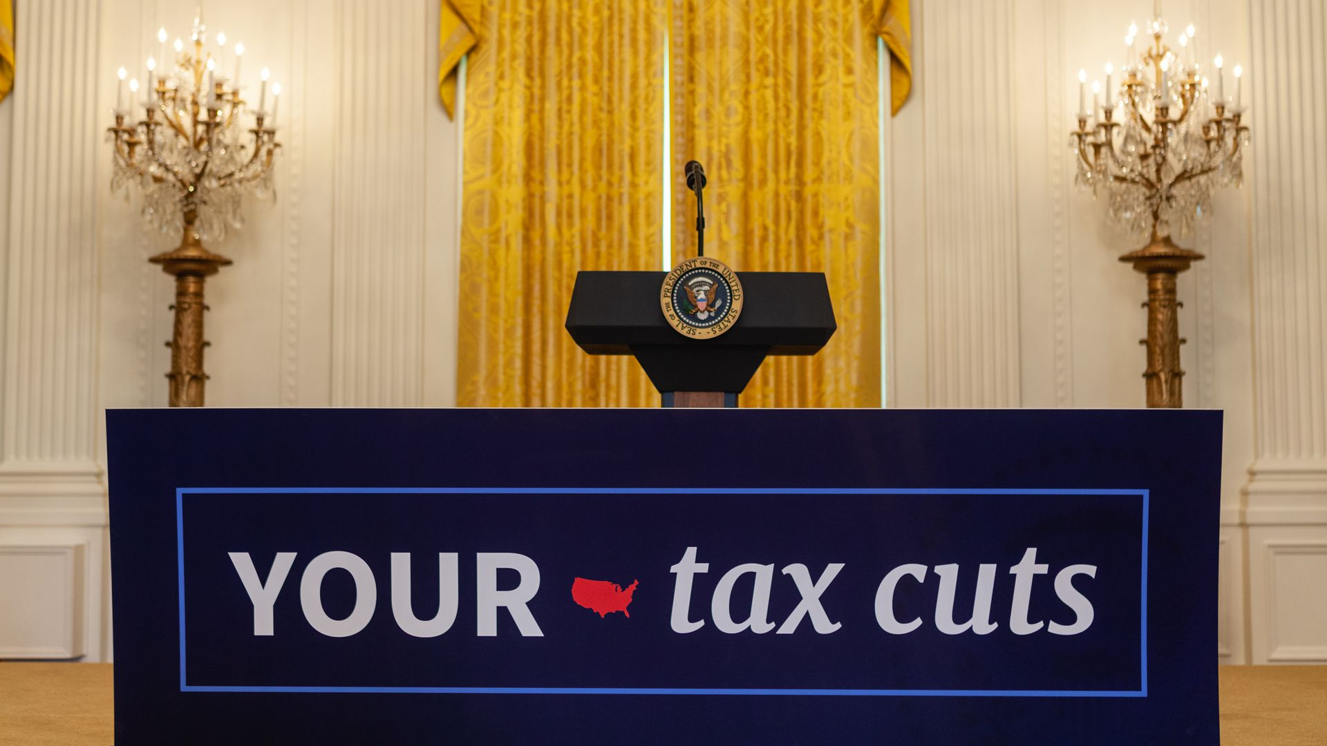 Podium at white house celebrating tax cuts