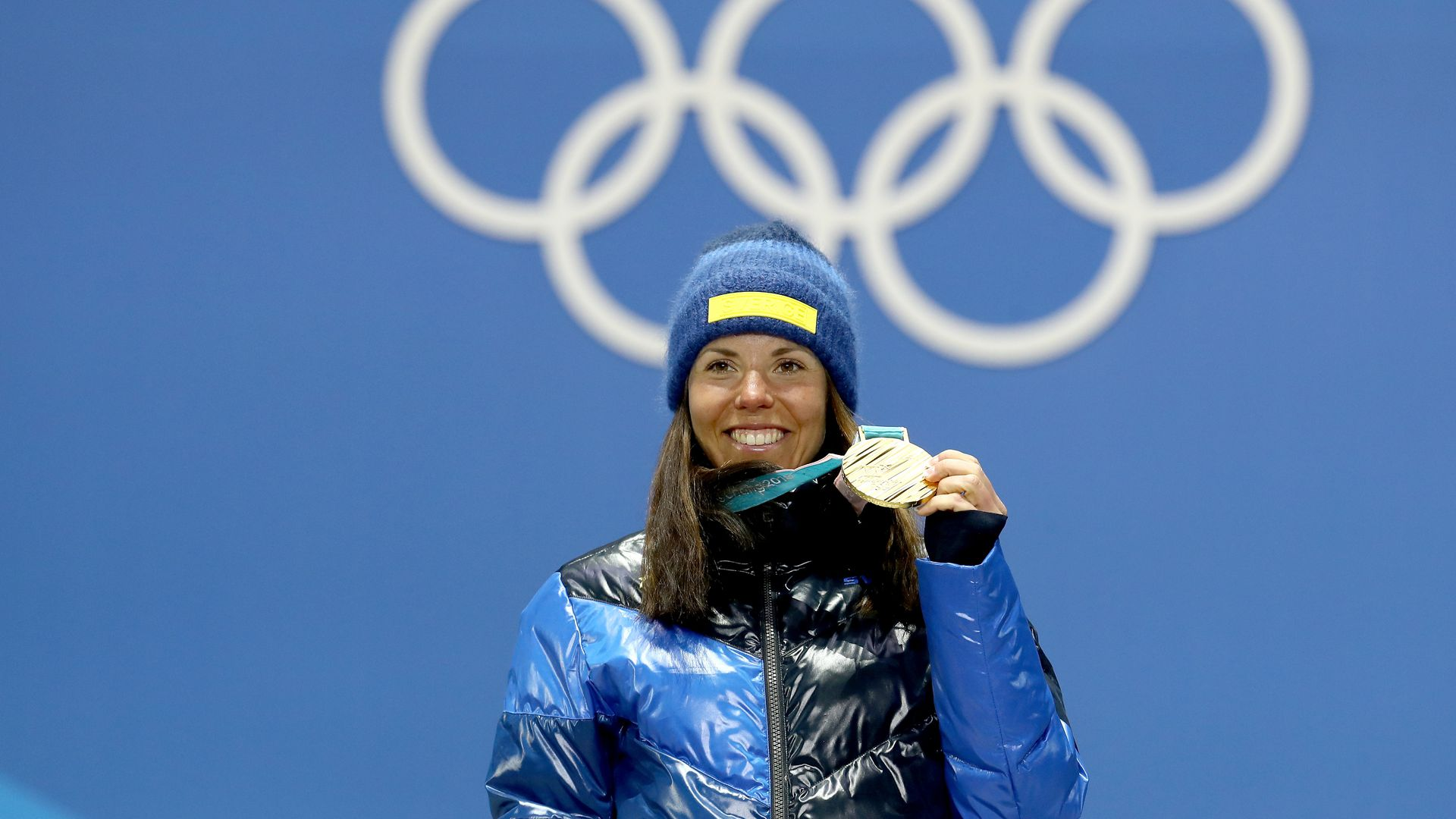 Gold medalist Charlotte Kalla of Sweden celebrates during the Medal Ceremony.