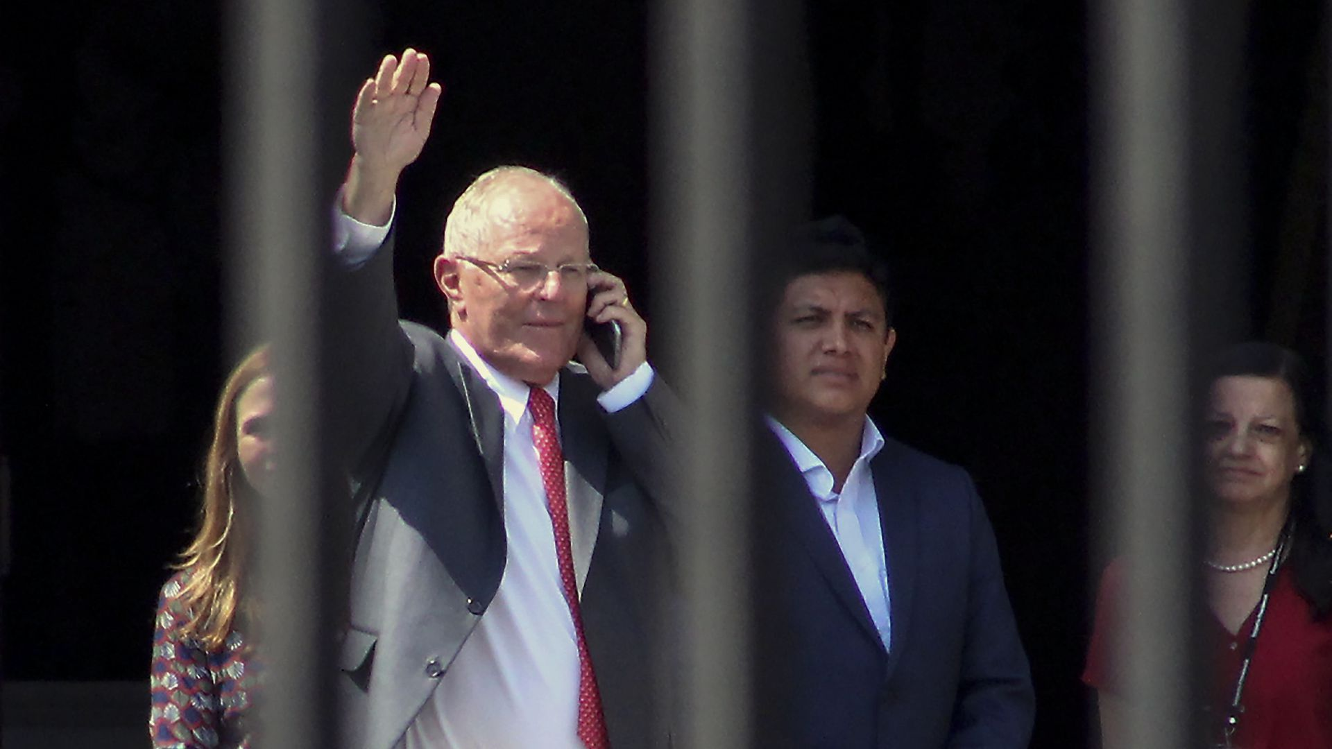 Peruvian President Peruvian President Pedro Pablo Kuczynski waves after announcing his resignation