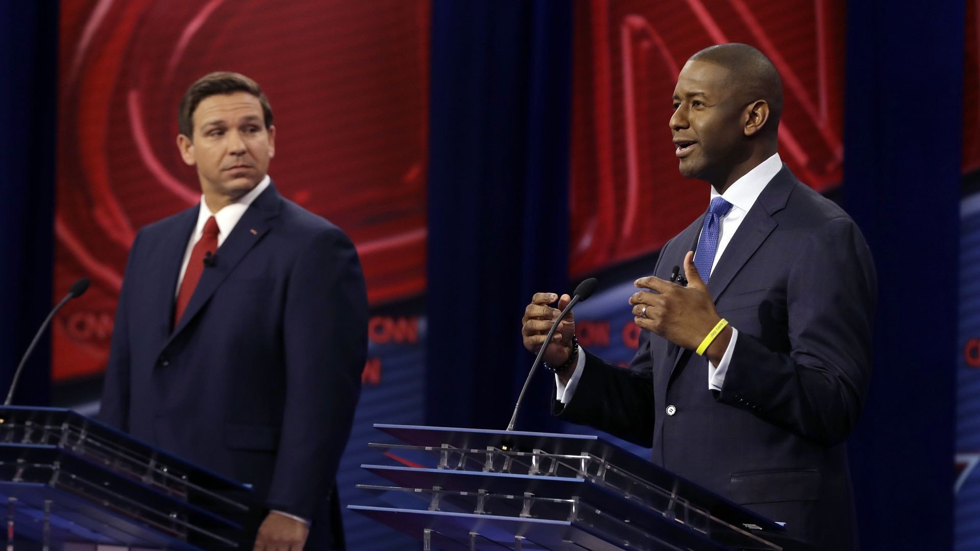 Andrew Gillum and Ron DeSantis at a debate