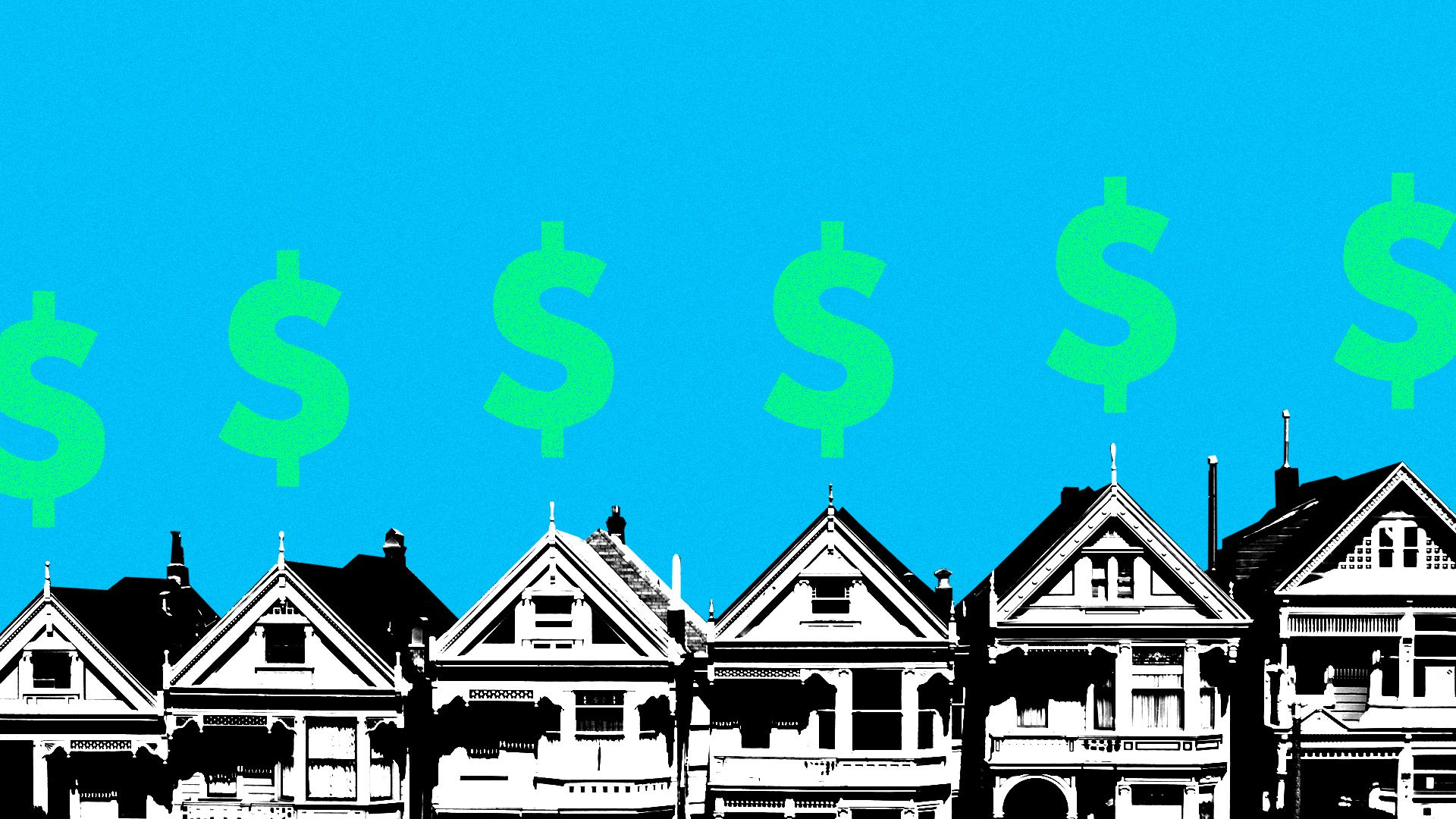 San Francisco rowhouses with dollar signs floating above them