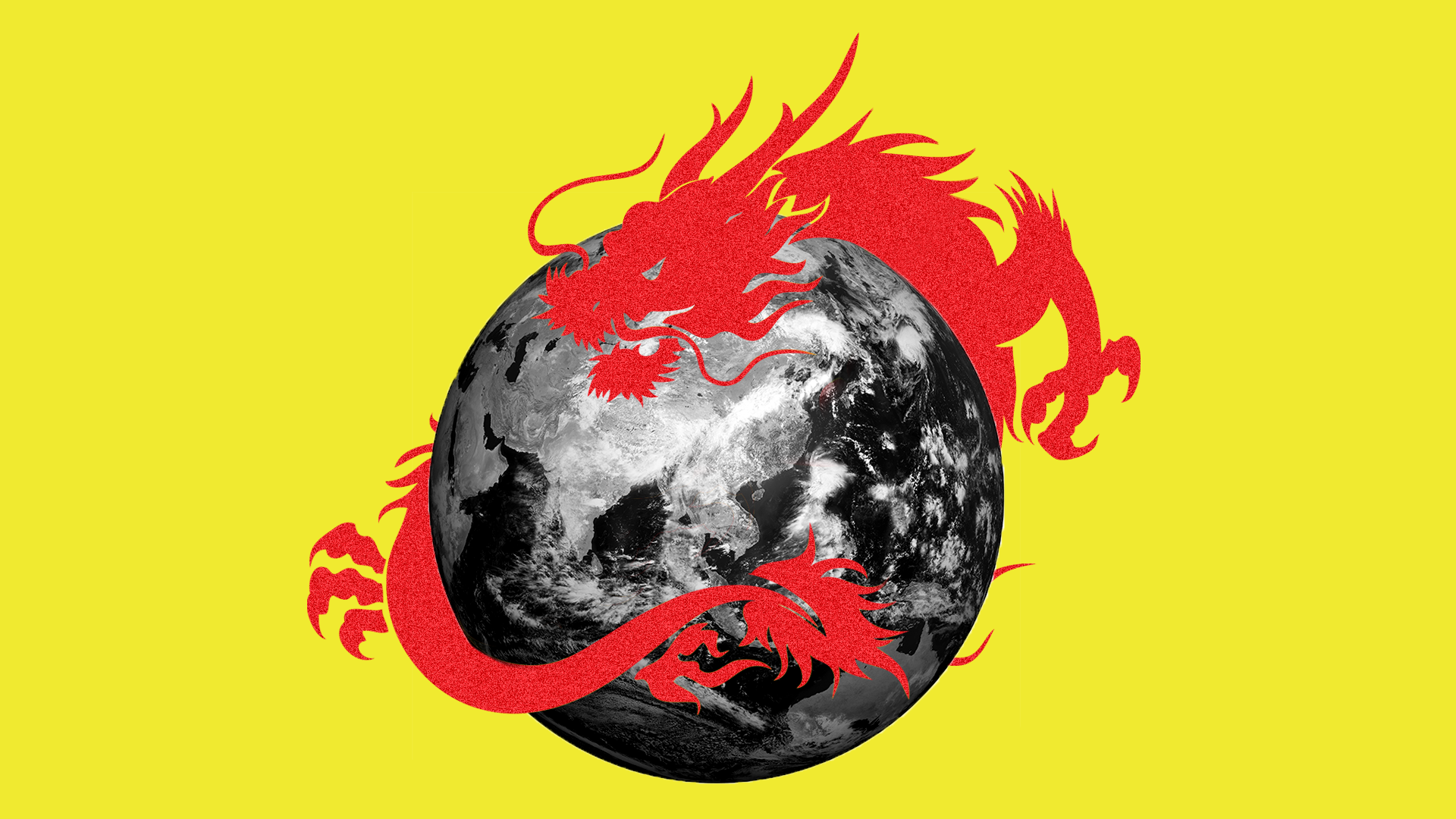 An illustration of a red dragon surrounding the world.