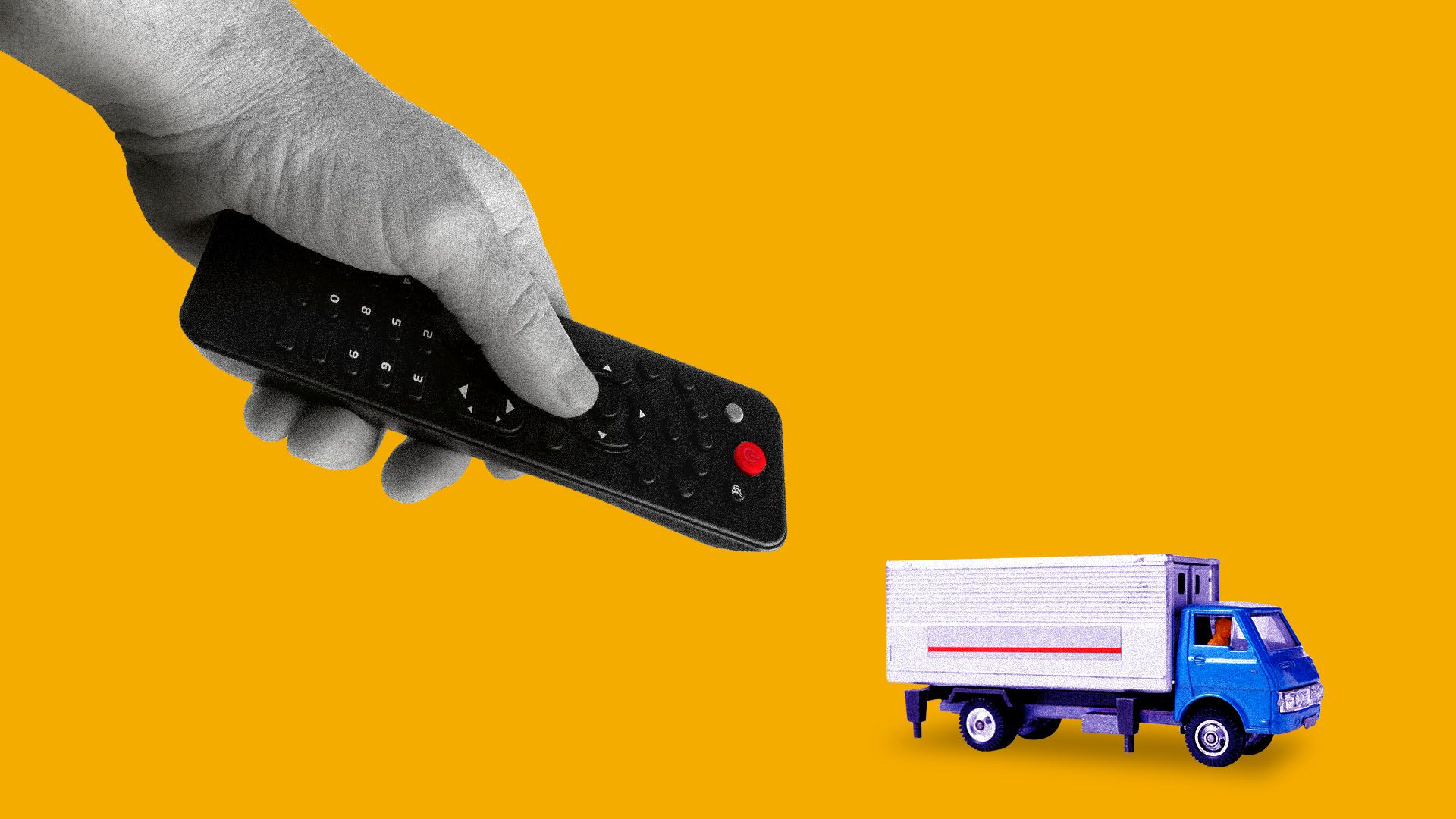 Illustration of hand with remote controlling a small truck