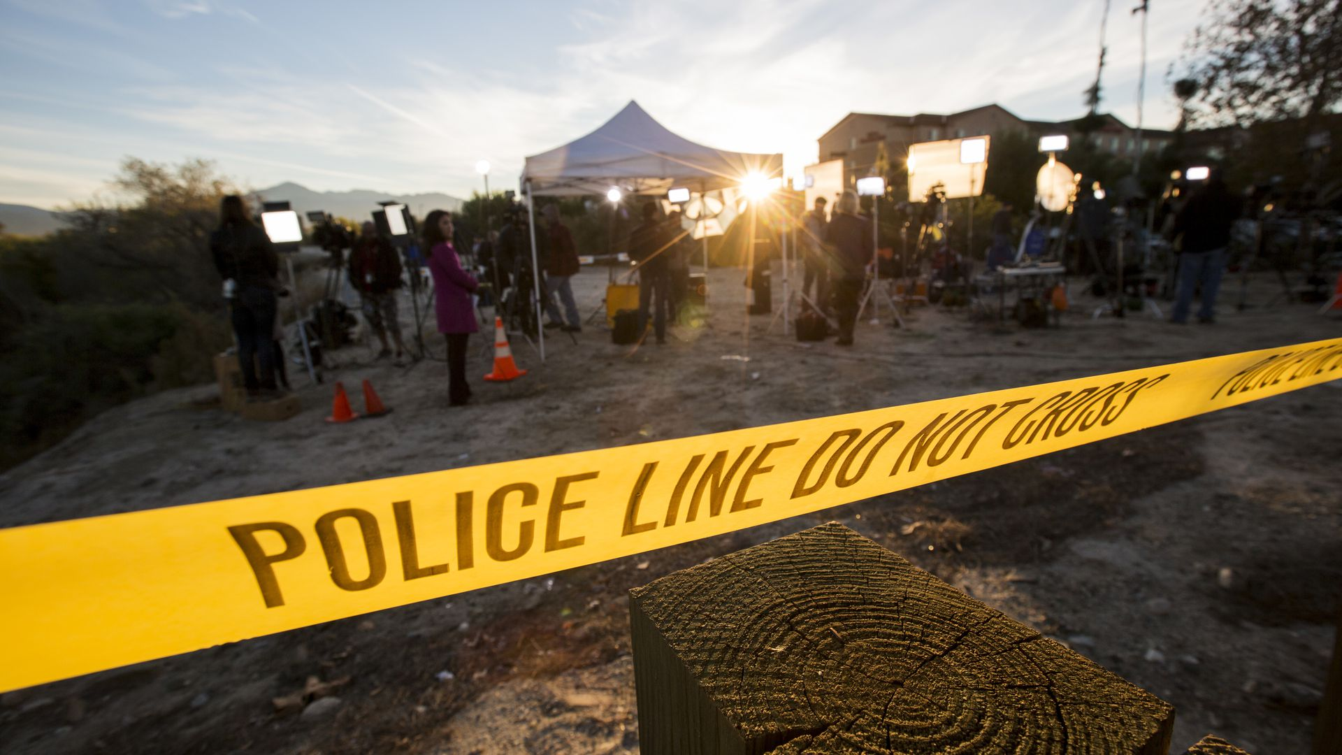 Yellow police tape at a crime scene