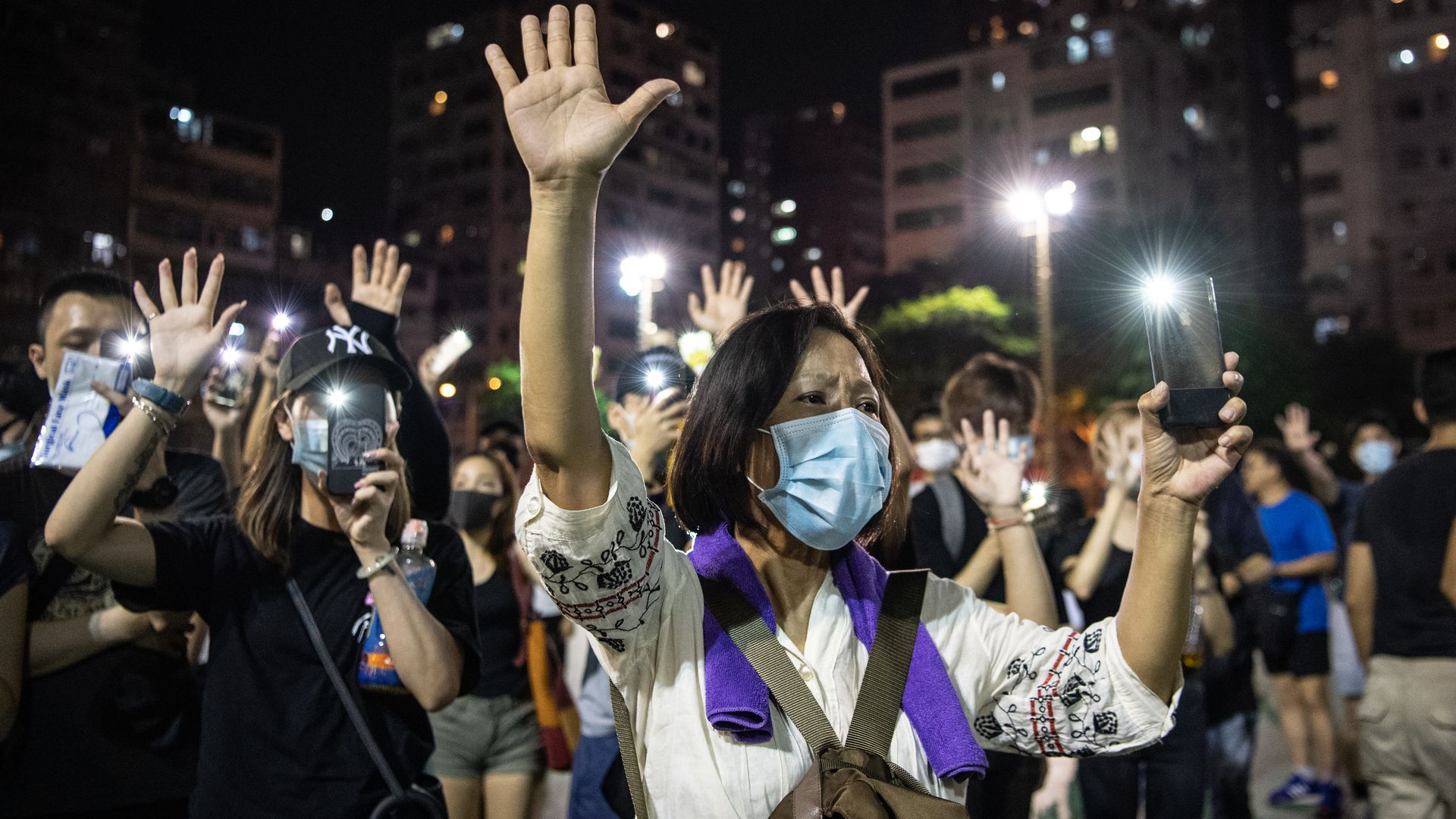 A woman protesting in Hong Kong