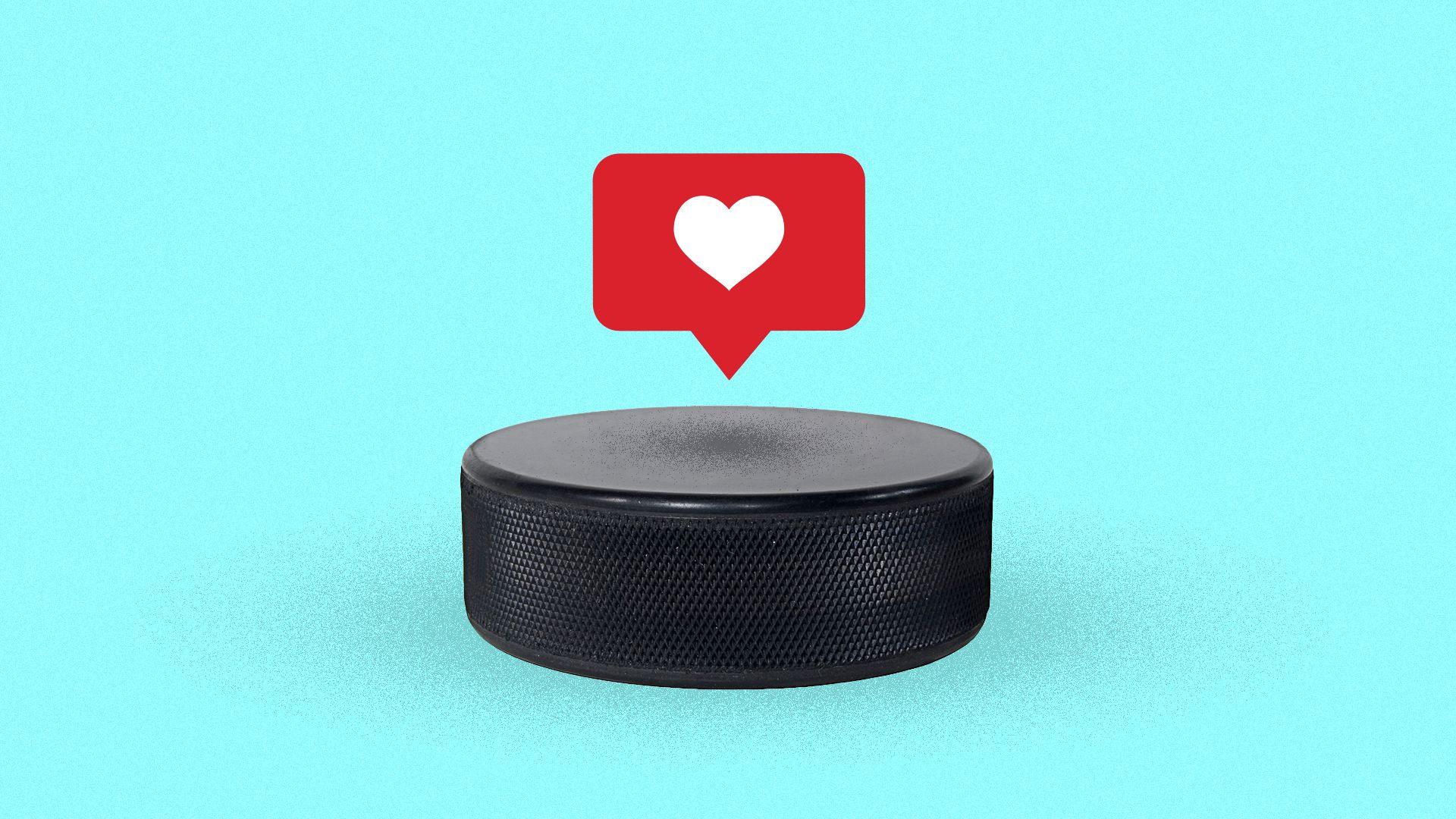 Illustration of a hockey puck with an Instagram like notification hovering above it