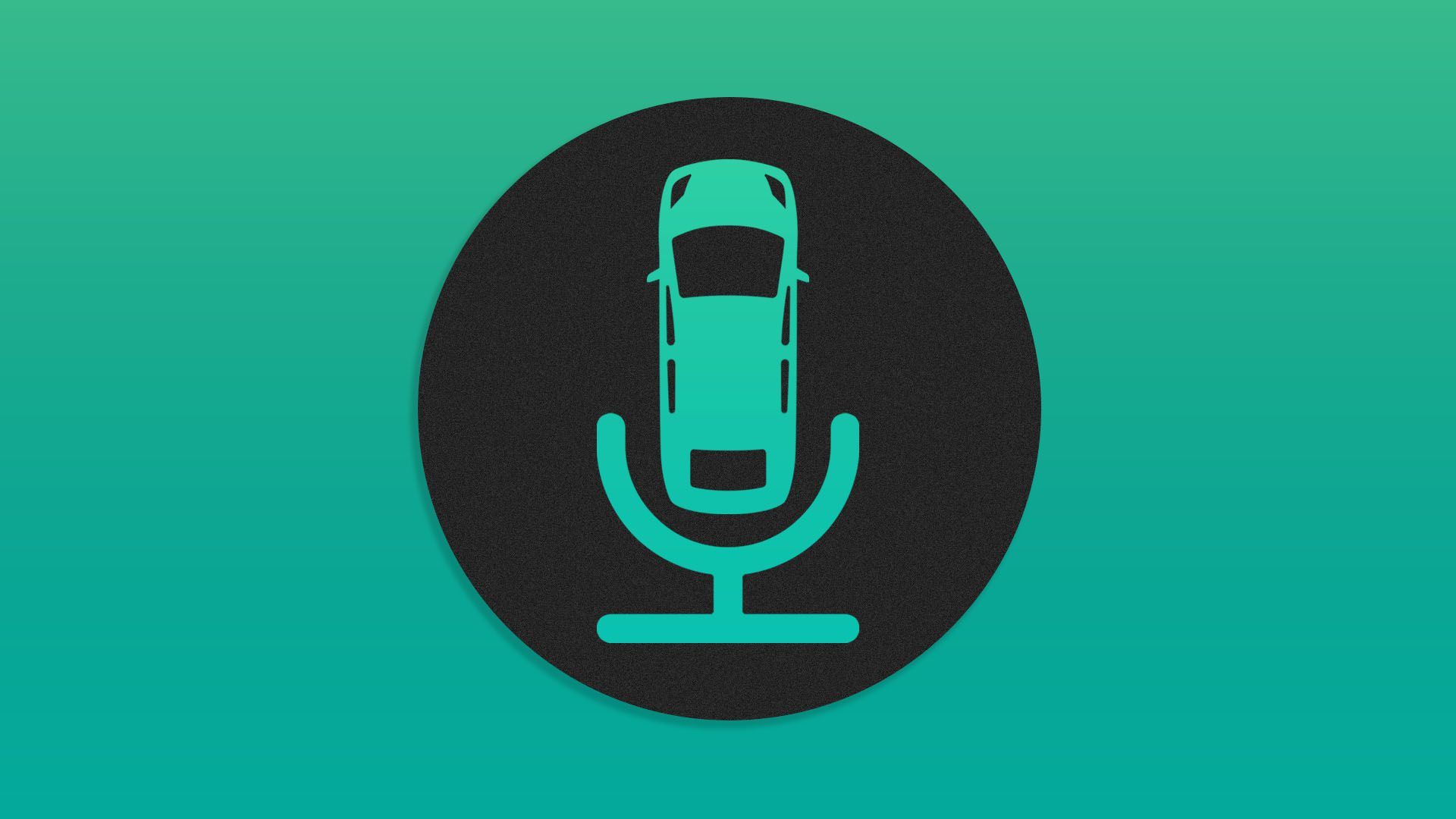 Illustration of microphone logo with a car in it