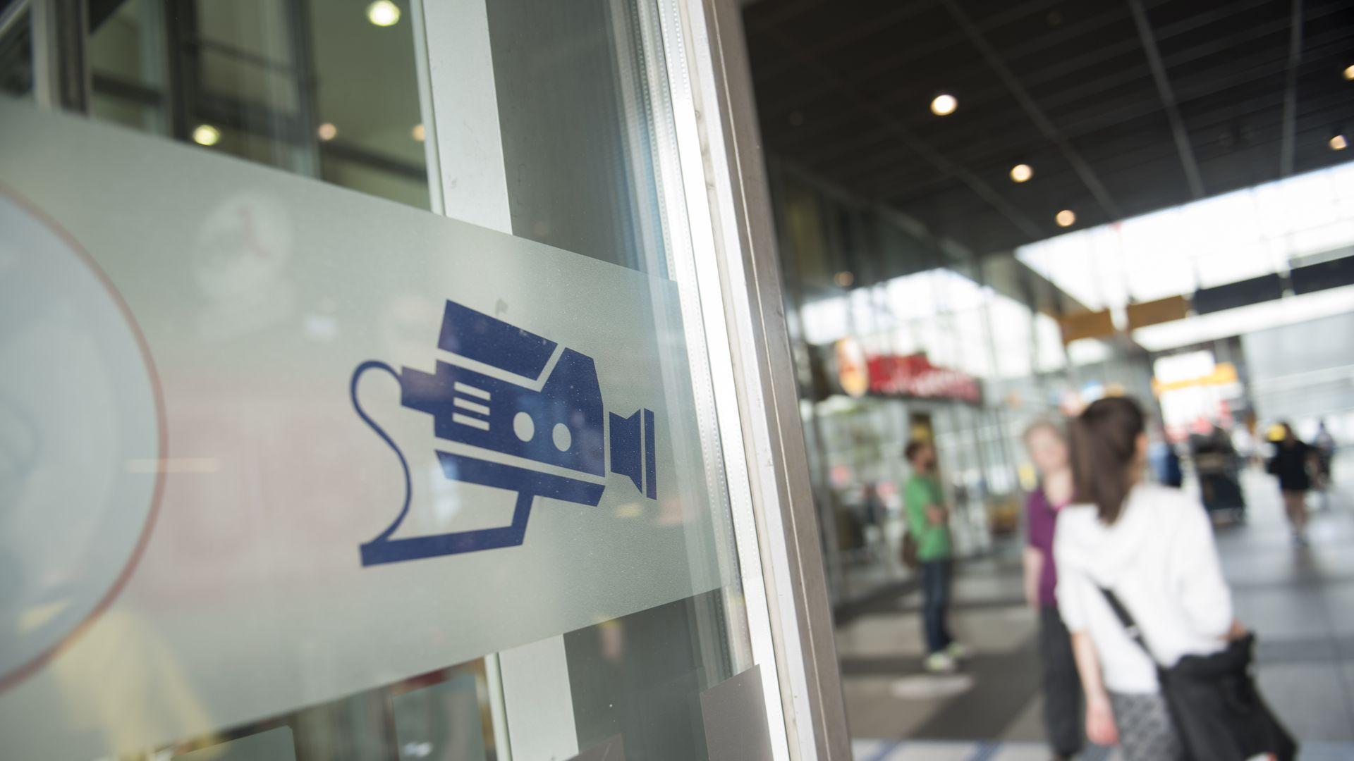 A sign revealing a camera