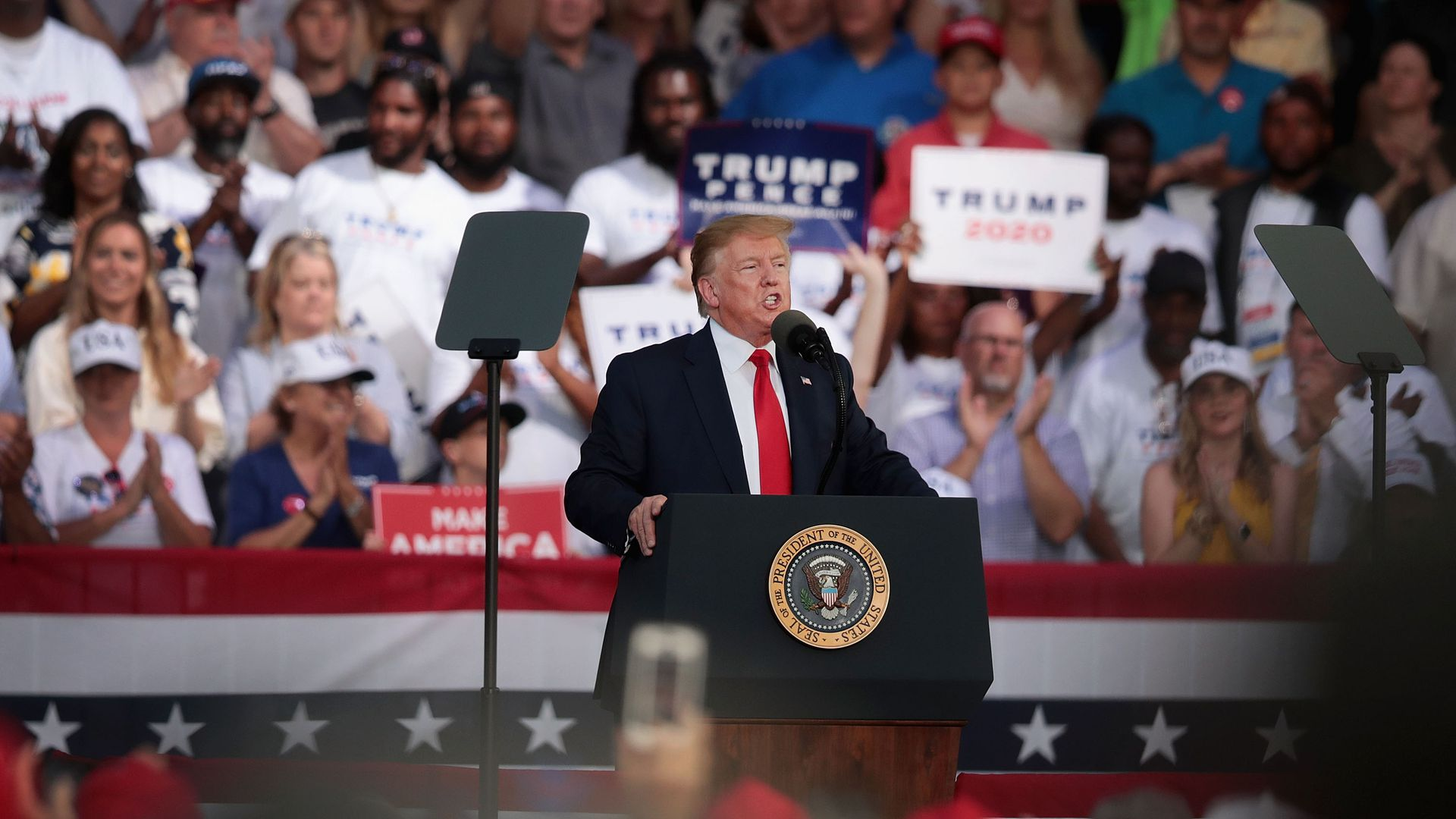 President Donald Trump speaks during a rally at the Aaron Bessant Amphitheater on May 8, 2019 in Panama City Beach, Florida.