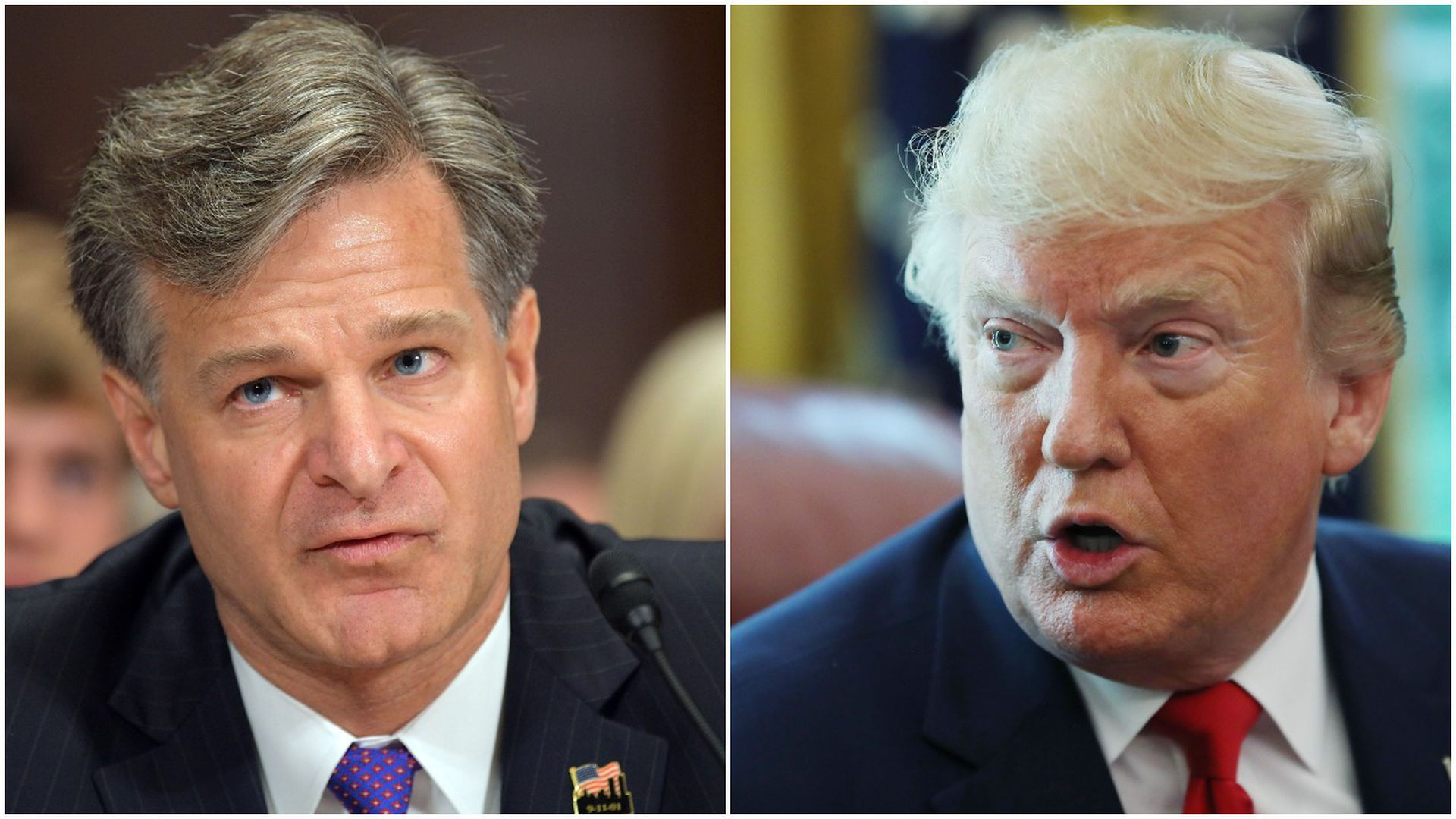 This image is a split-screen of Wray and Trump.