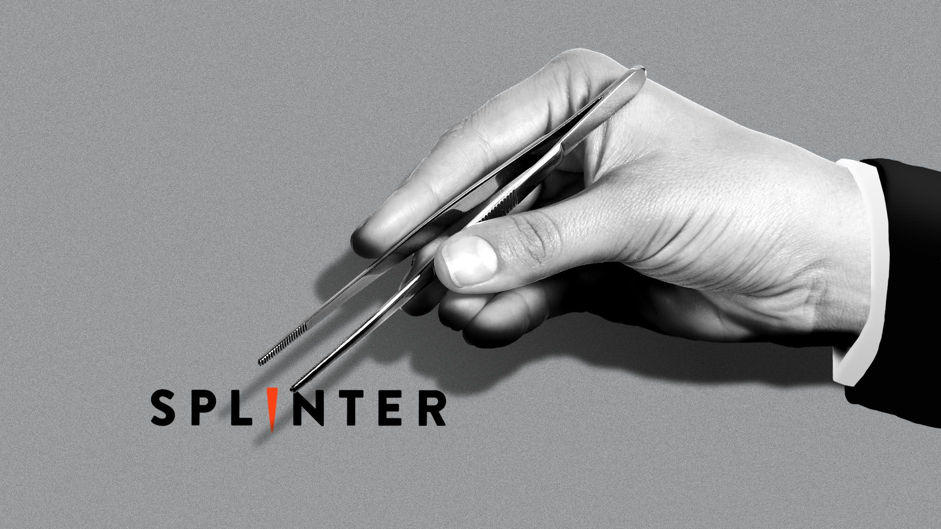 Illustration of a hand with a giant pair of tweezers hanging ominously over the Splinter logo.