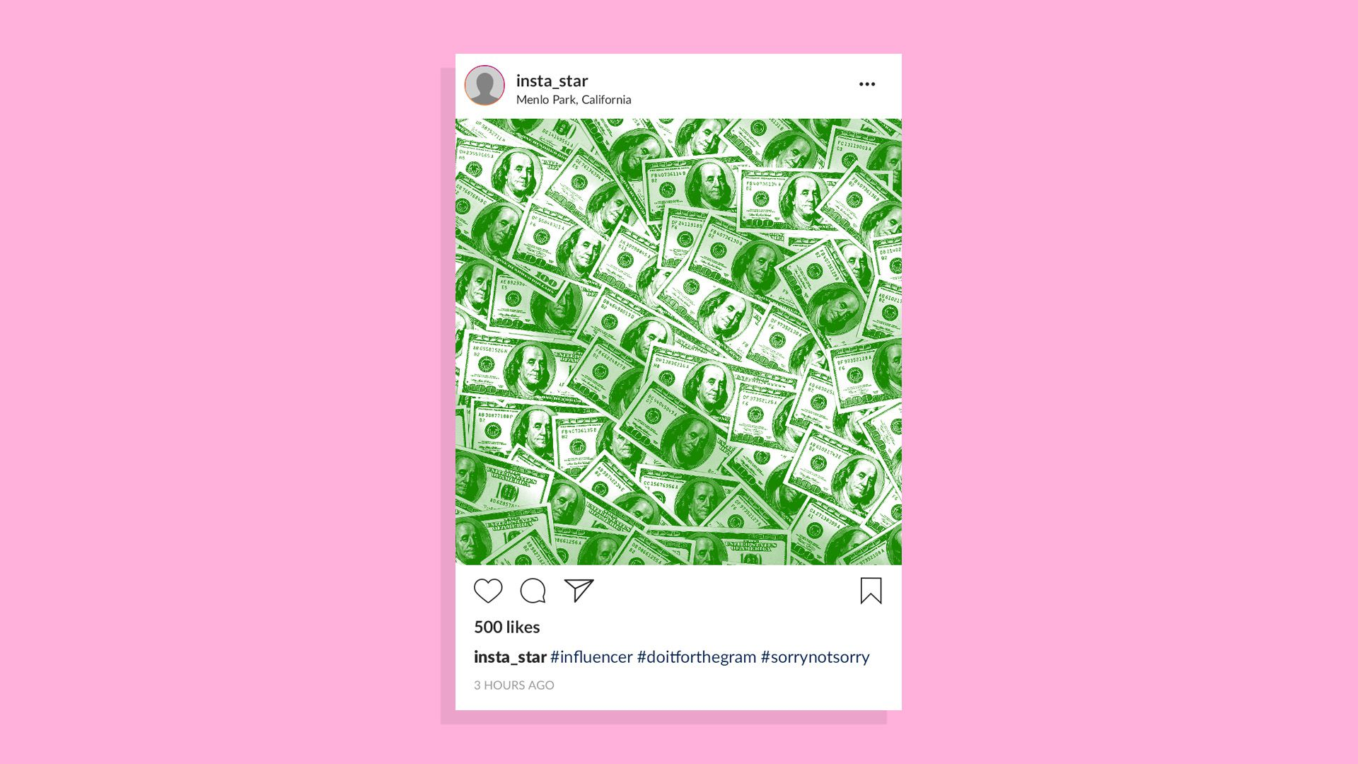 An illustration of an instagram feed full of money.
