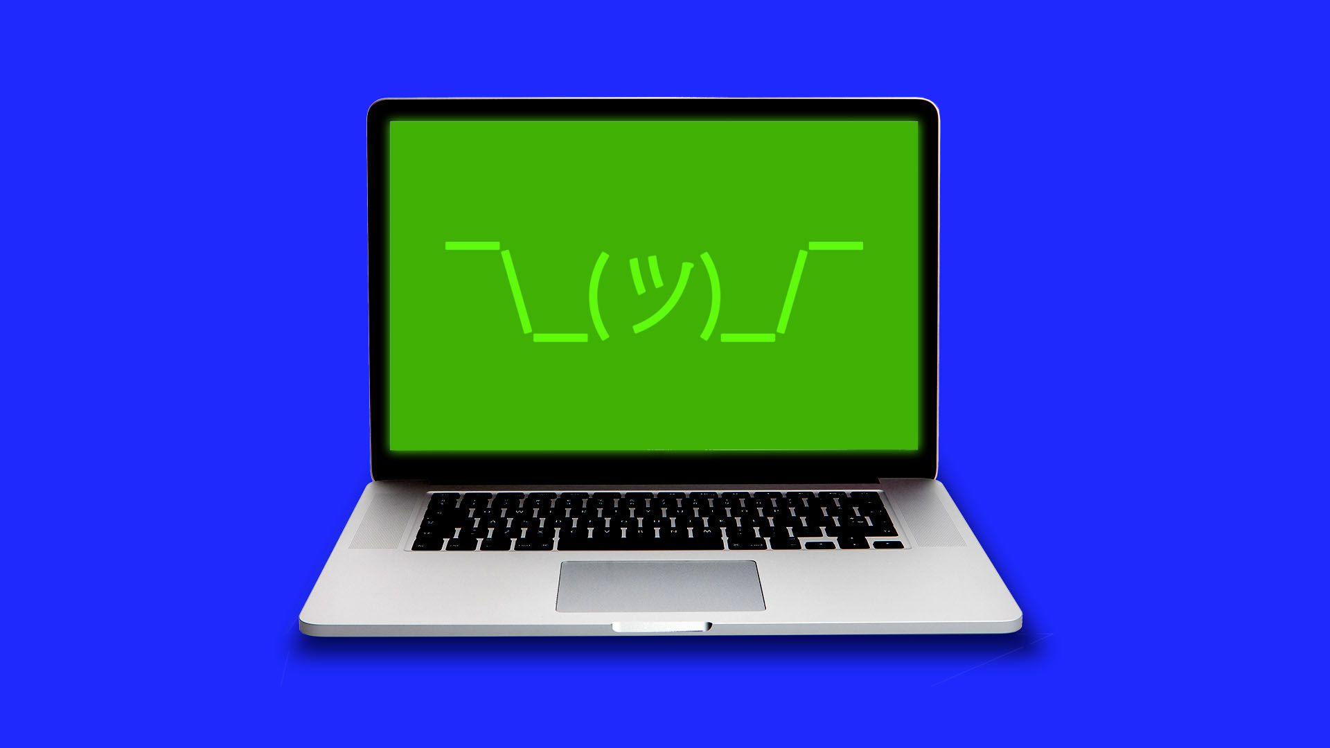 Illustration of a computer with a shrug emoji on the screen