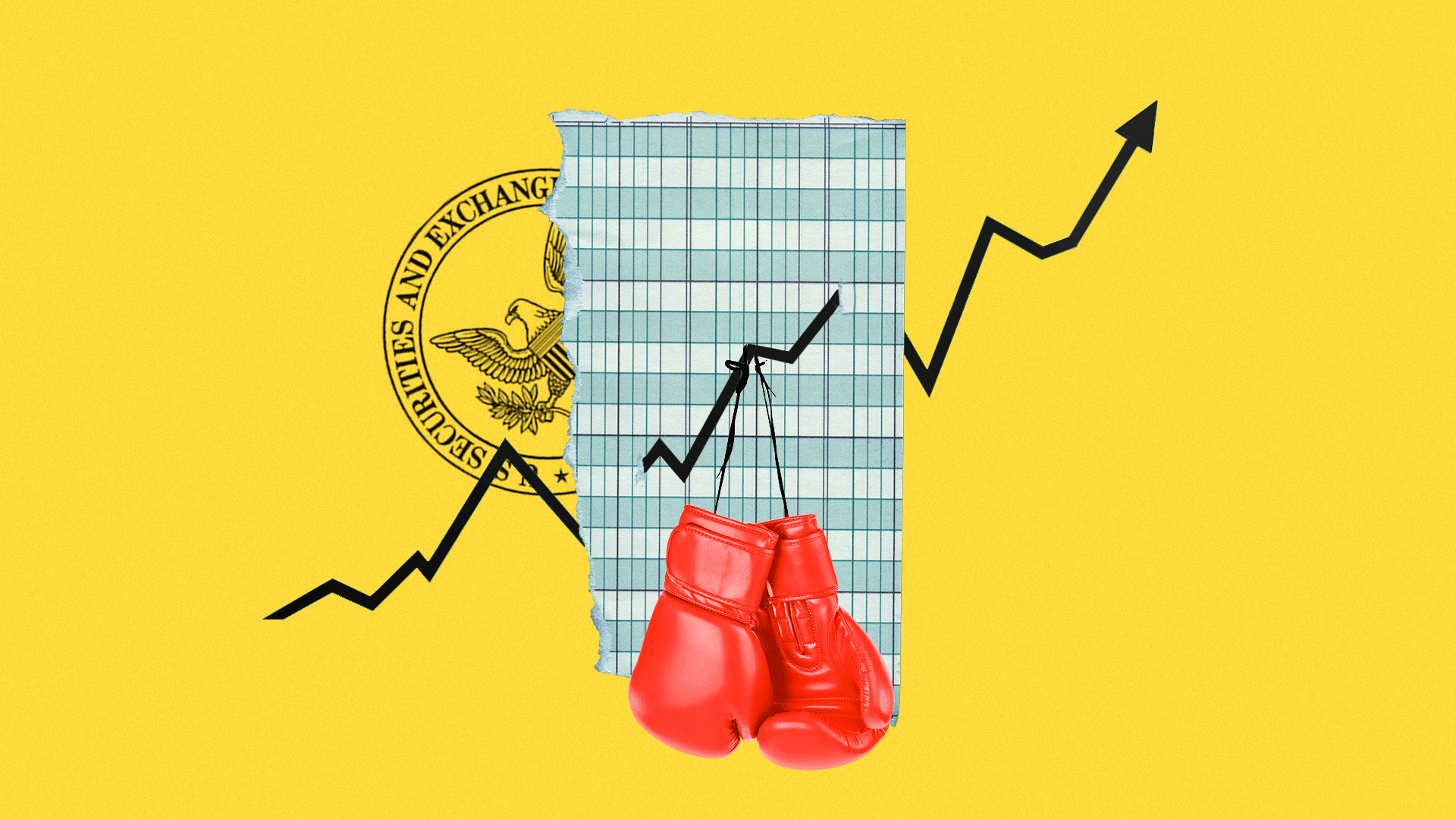 In this illustration, two red boxing gloves hang in front of a rising arrow stylized as a stock market graph. In the background, the logo of the SEC is visible.