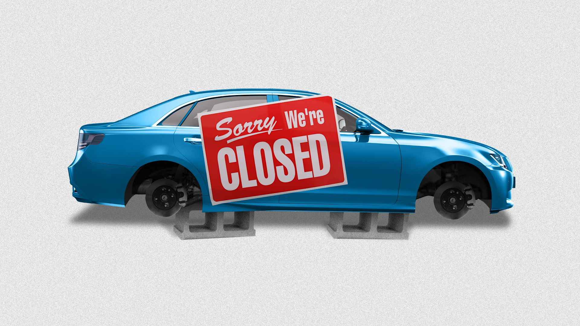 "Illustration of a blue sedan with a giant ""Sorry, we're closed"" sign on it"