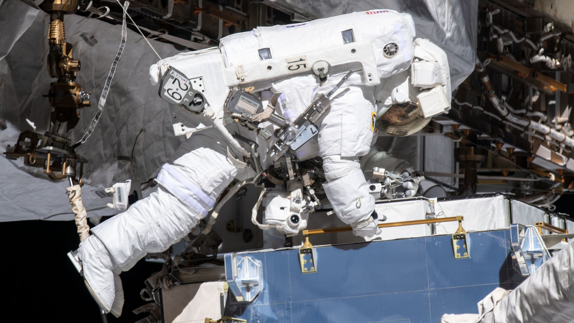 An astronaut working on the outside of the International Space Station