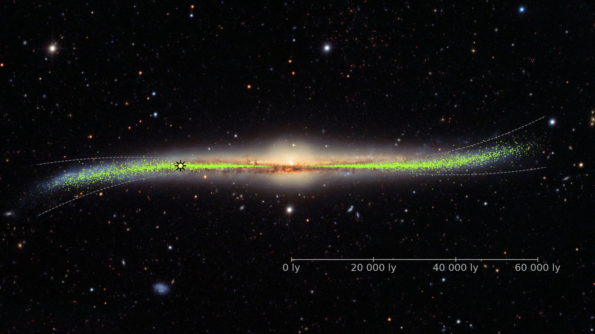 Warped galaxy with the distribution of young stars (Cepheids) in its disk as inferred from the Milky Way Cepheids.
