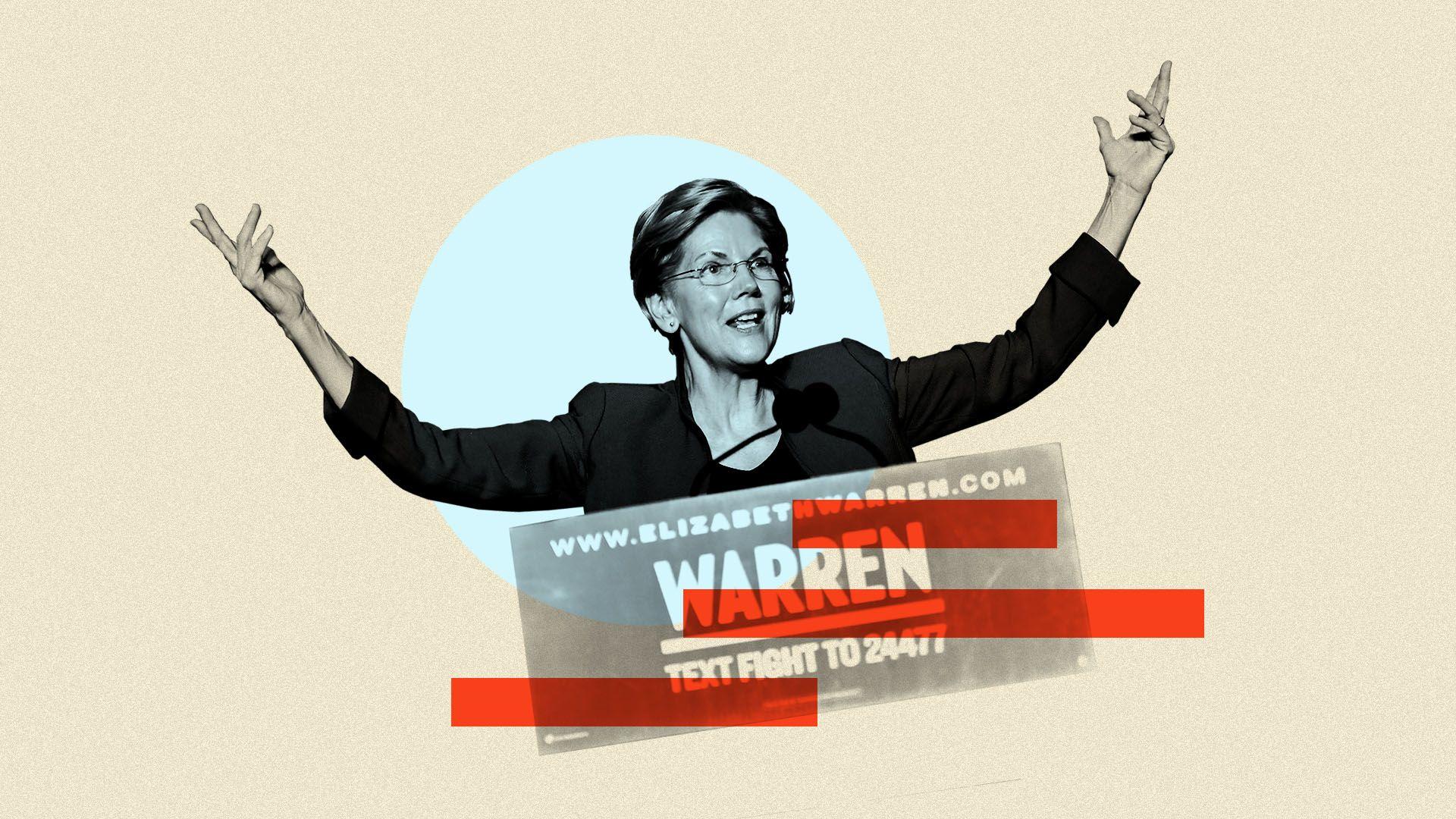 Photo illustration of Elizabeth Warren
