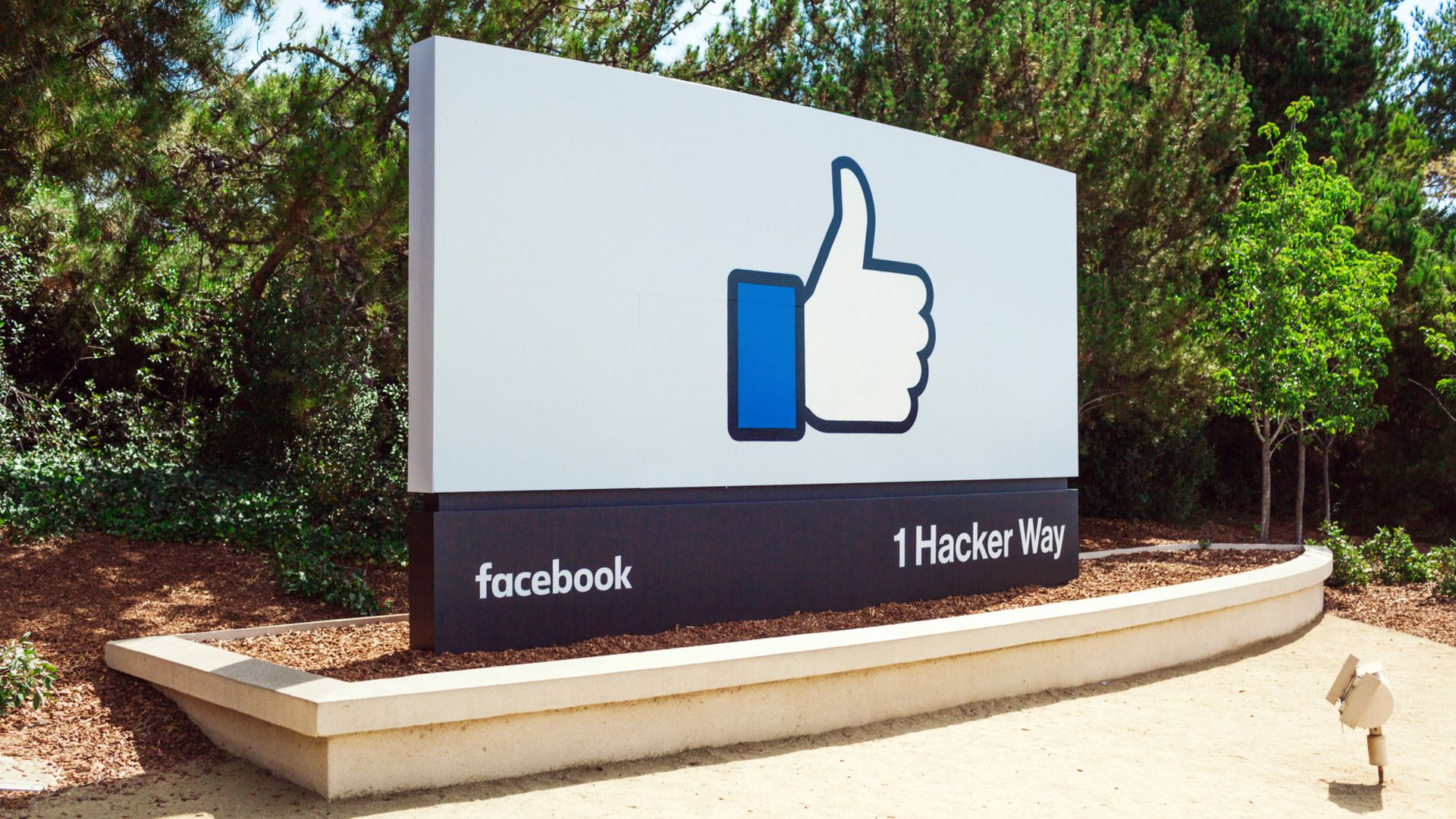 A thumbs up sign on the Facebook HQ in Menlo Park, Calif.