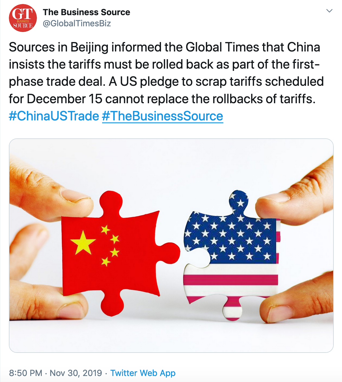 A tweet from China's Global Times that says China will require the U.S. to remove previous tariffs before striking a trade deal.