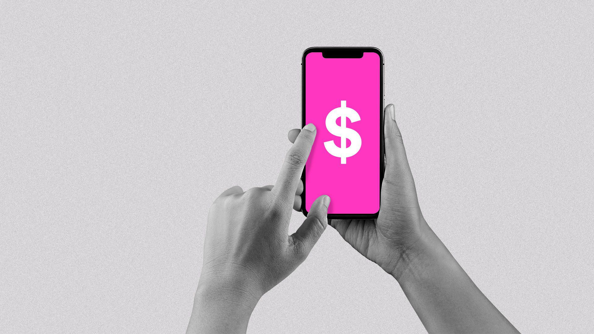 A hand holding a phone showing the Lyft app with a dollar sign