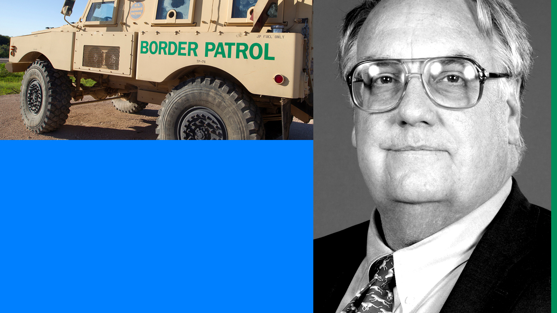 Border patrol truck and Howard Buffett