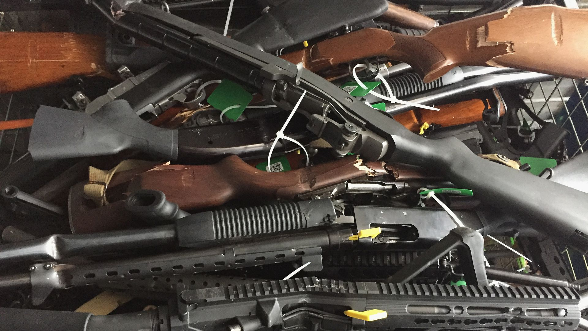 Collected firearms are seen at Riccarton Racecourse on July 13, 2019 in Christchurch, New Zealand.
