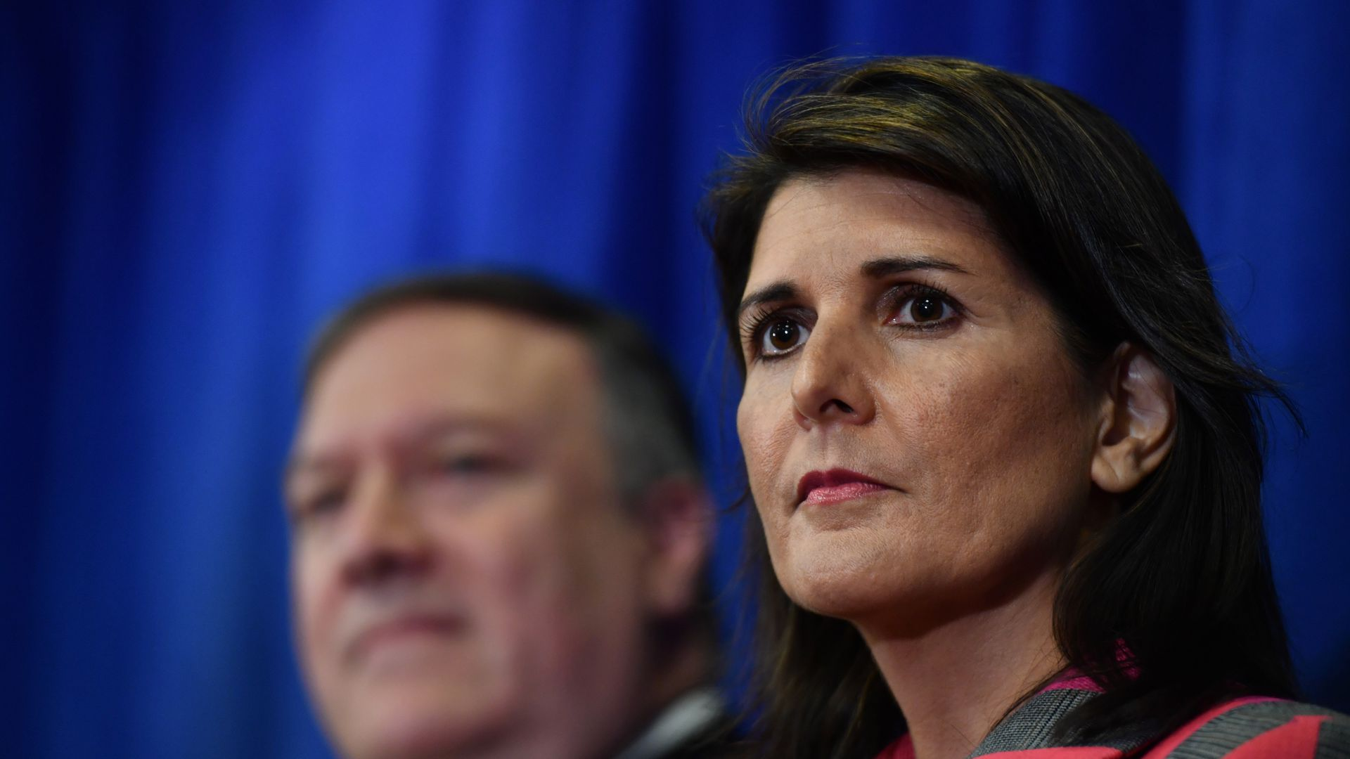 Nikki Haley pictured at a press conference
