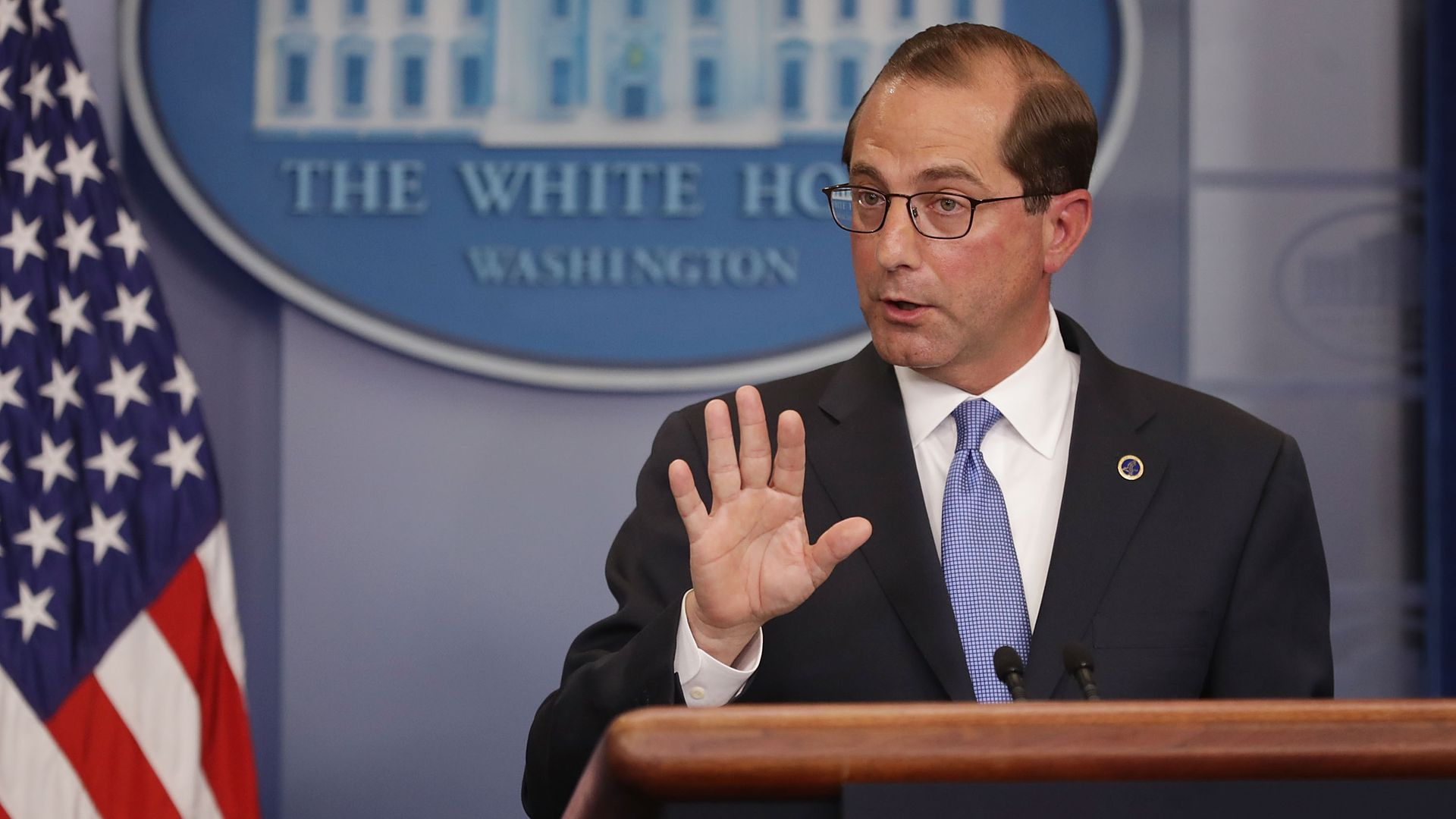 Alex Azar at WH podium