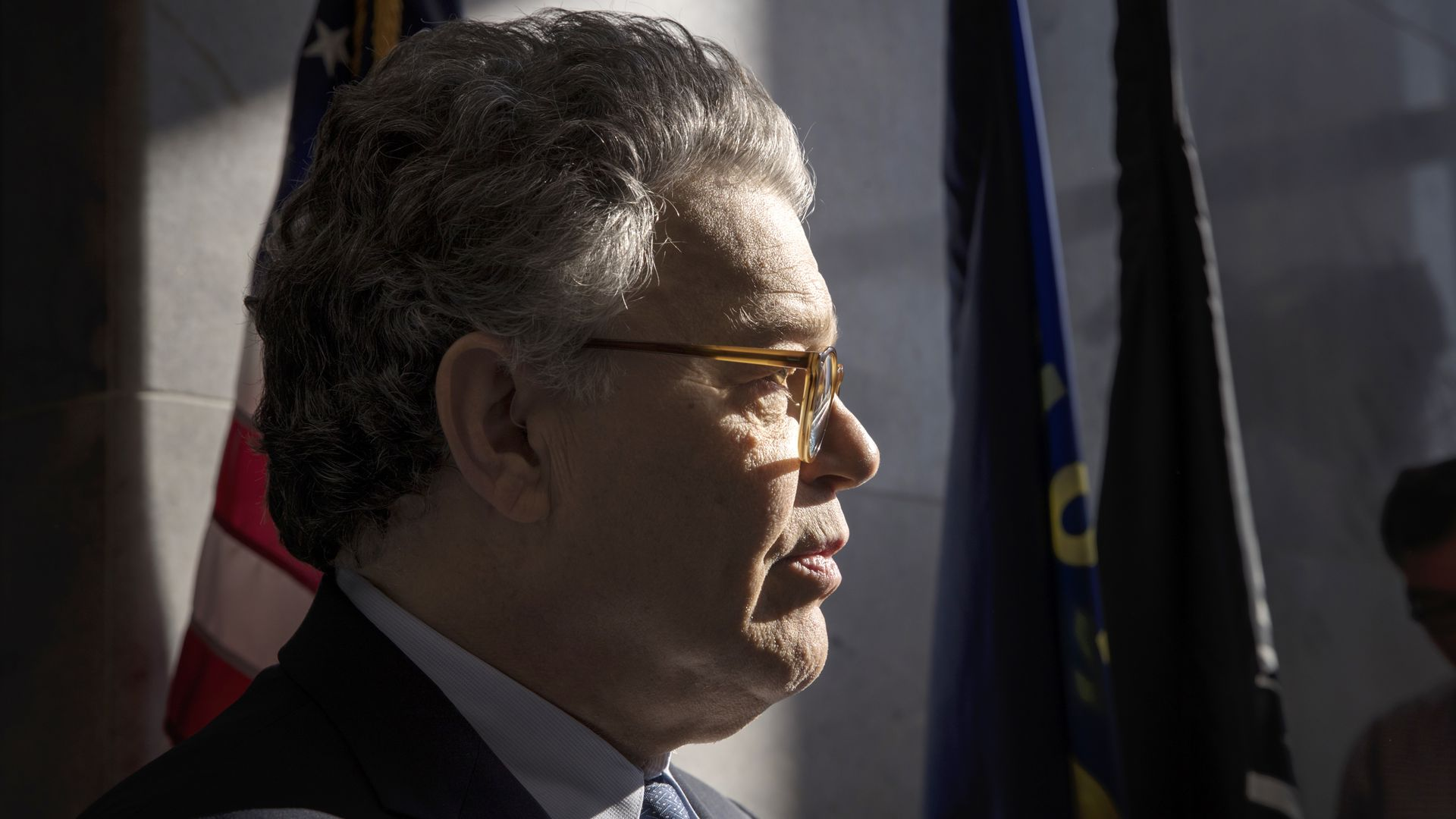 Sen. Al Franken (D-Minn.) talks to the media on Capitol Hill in Washington. Photo: J. Scott Applewhite / AP