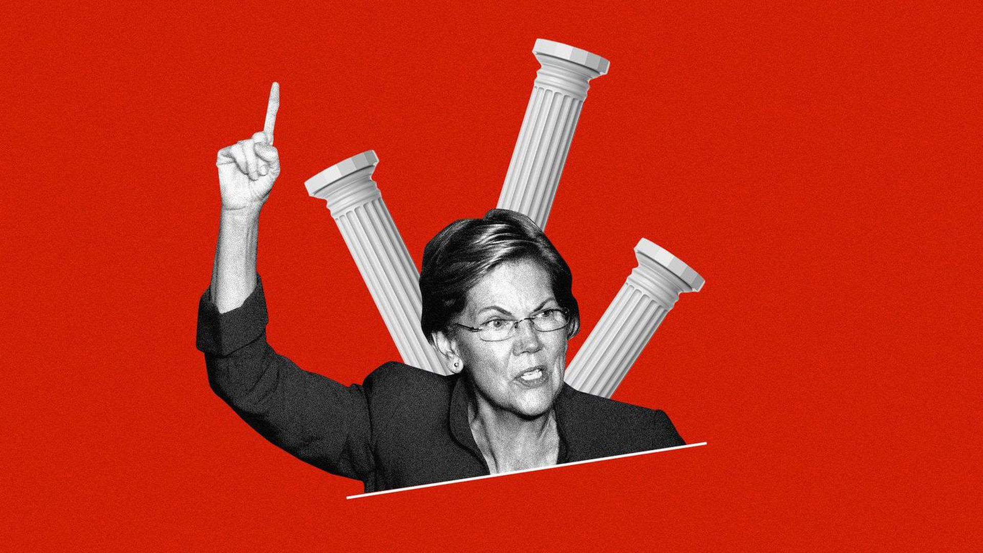 Elizabeth Warren in front of a bunch of broken columns and a red background.