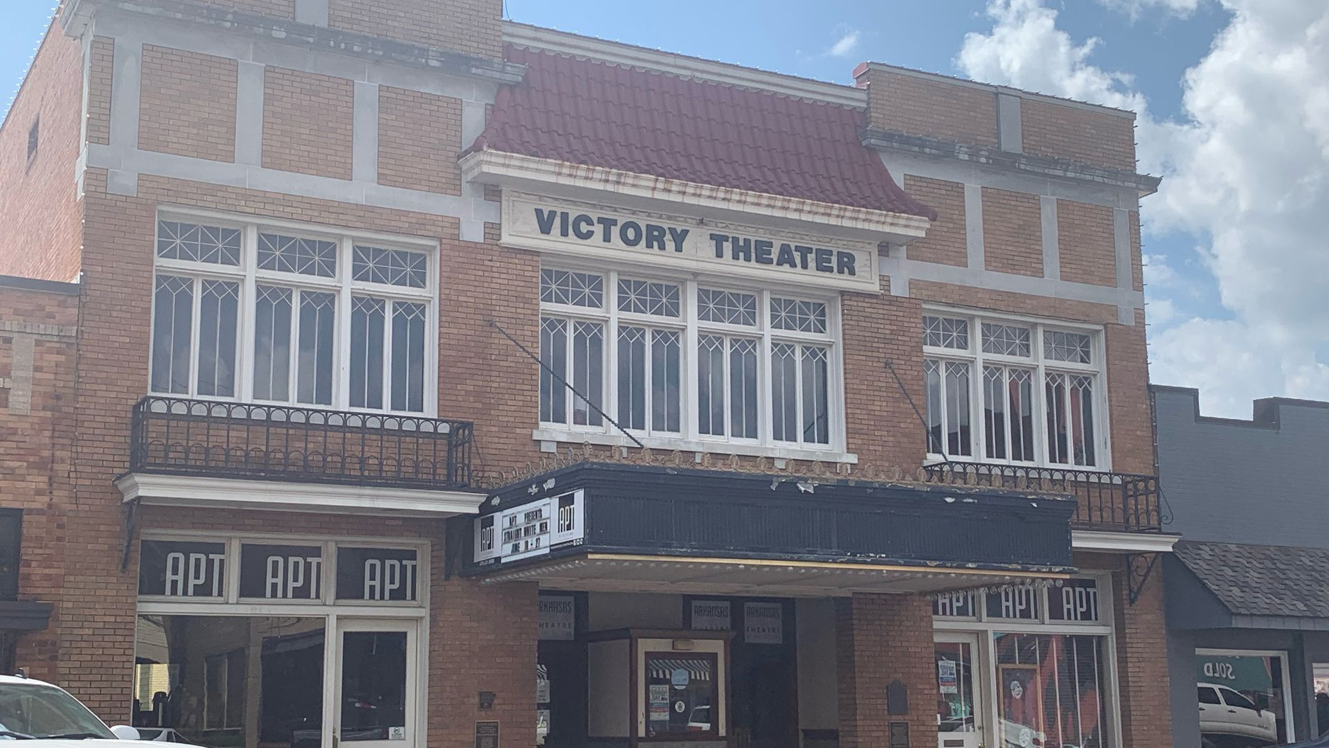 The outside of the Victory Theater building
