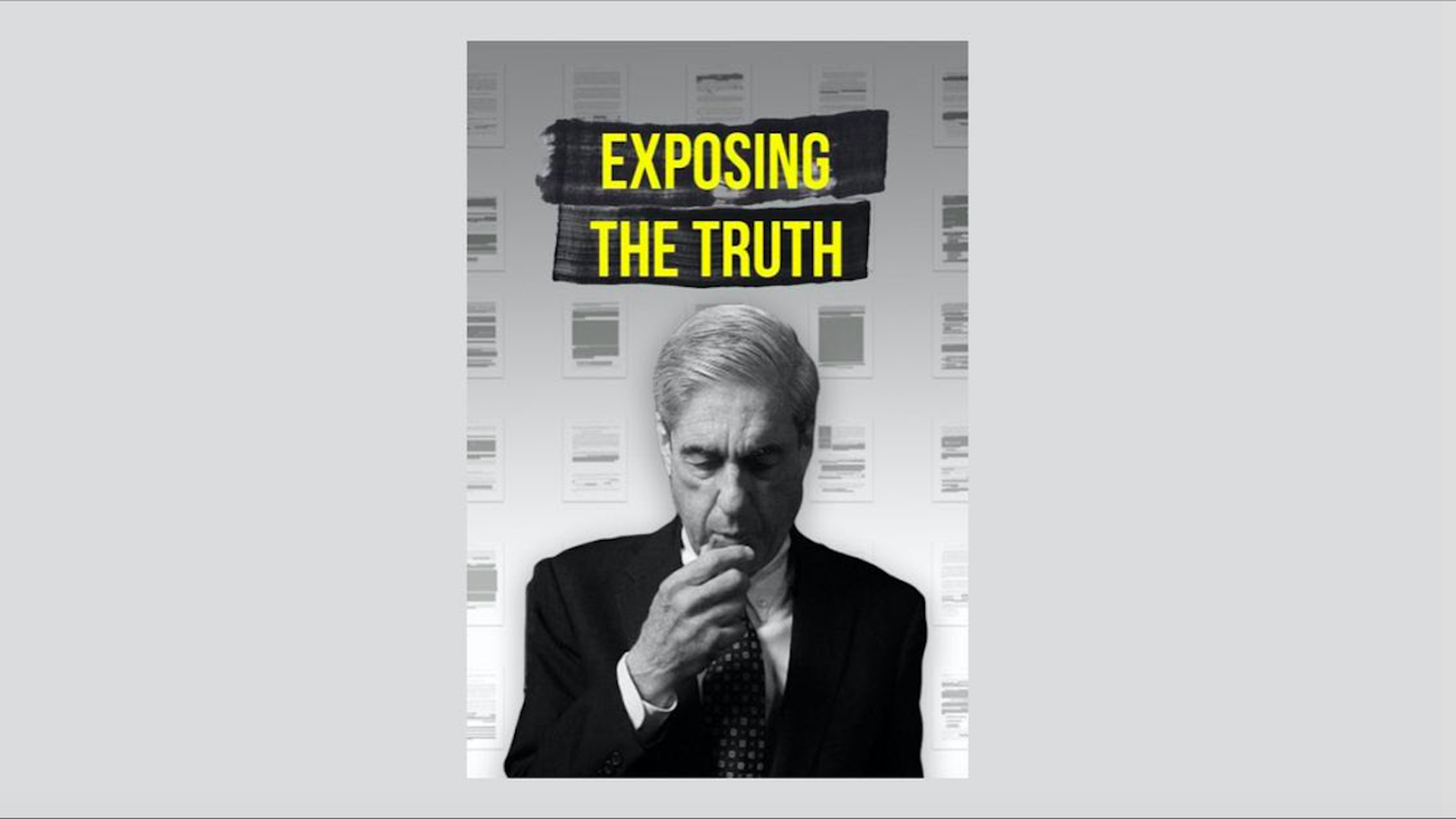 """Cover that reads """"exposing the truth"""" with a black and white photo of Robert Mueller"""