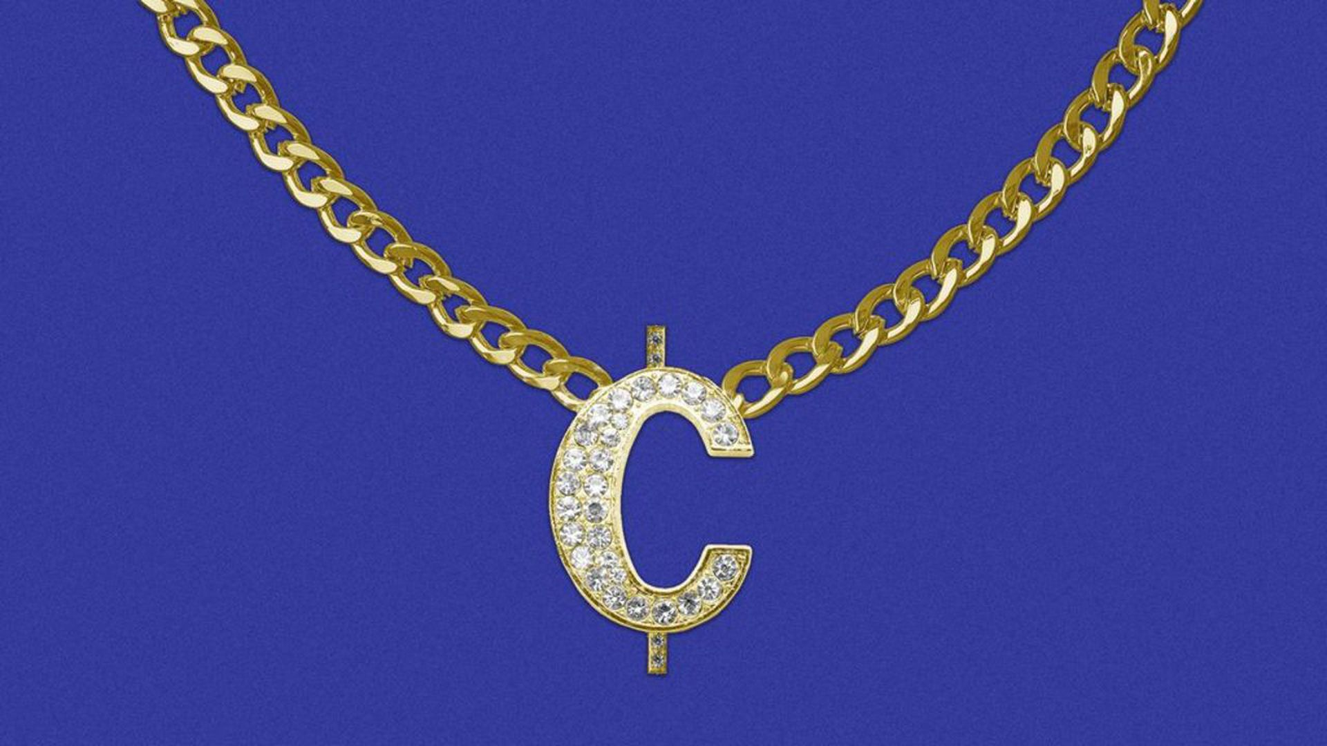 illustration of a necklace with a blinged out cent symbol