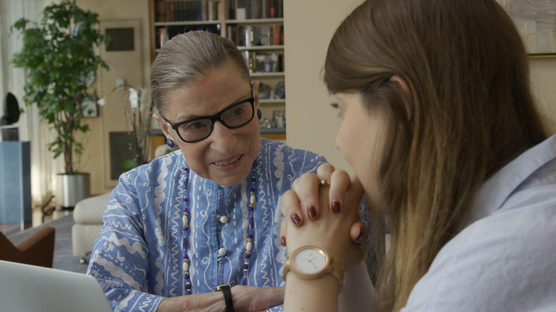 U.S. Supreme Court Justice Ruth Bader Ginsburg talks to her granddaughter Clara Spera in RBG, directed by Betsy West and Julie Cohen. Courtesy of CNN Films.