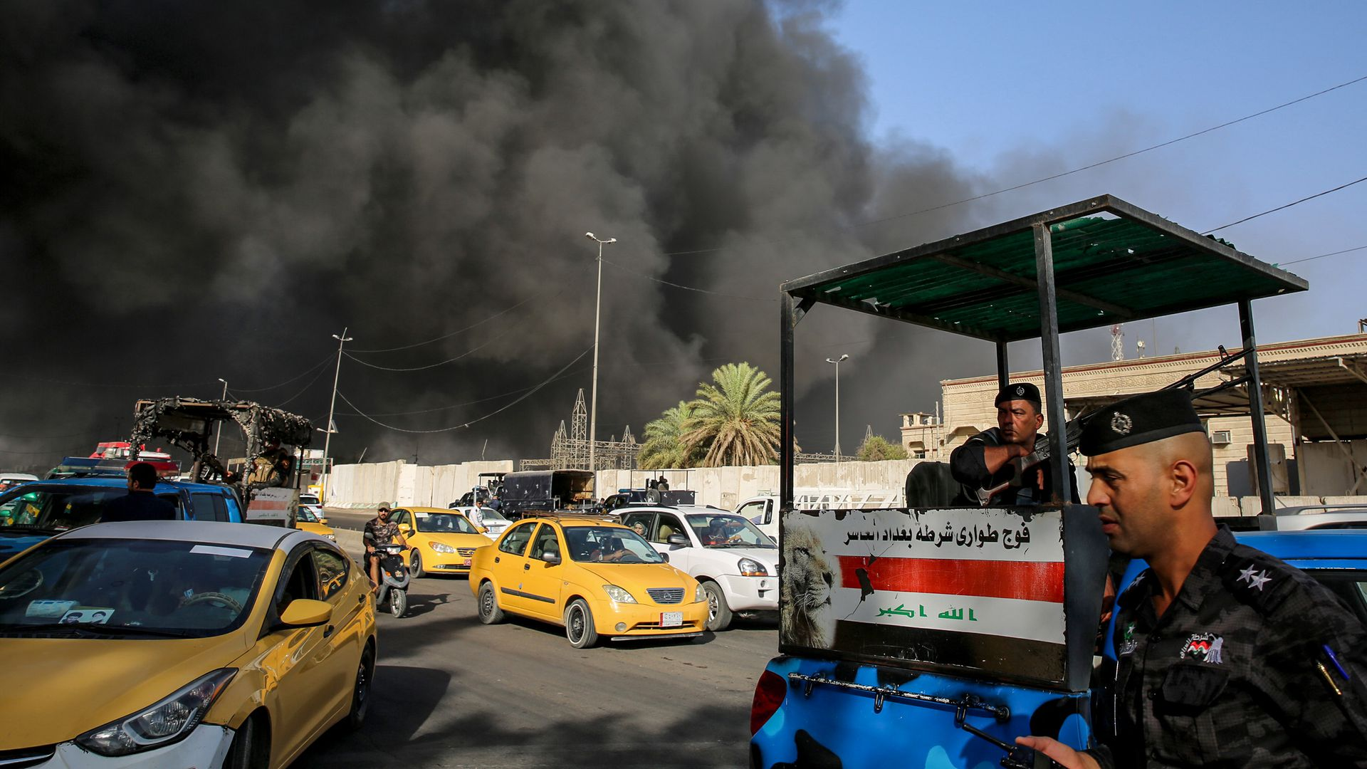 A fire truck at an election ballot warehouse in Baghdad.